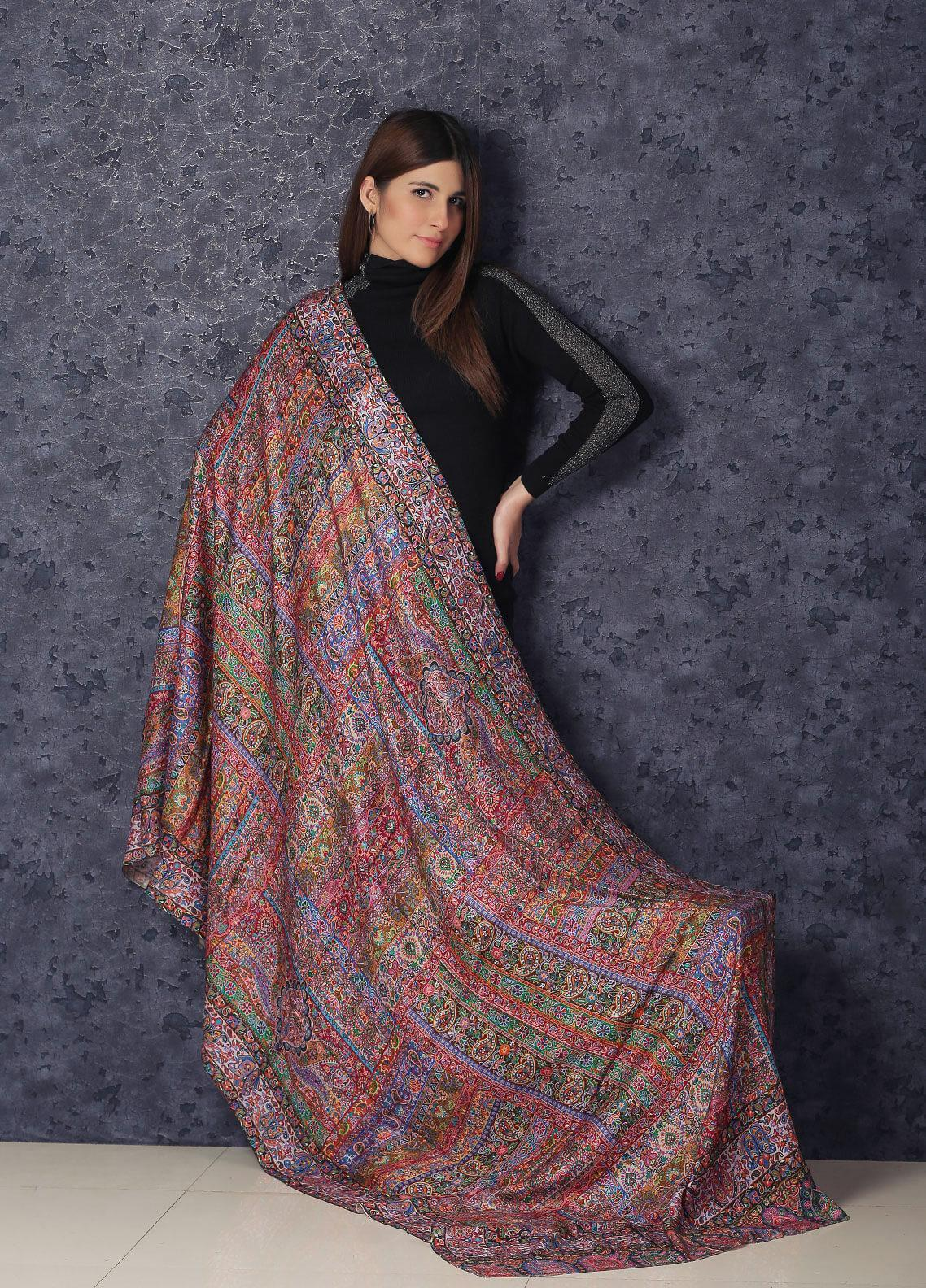 Sanaulla Exclusive Range  Silk Printed Shawl MIR-791 Mix - Winter Collection