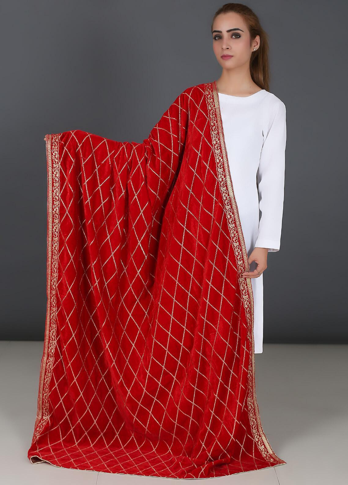 73cf2a886fbf Sanaulla Exclusive Range Embroidered Velvet Shawl 03 Red - Winter Collection