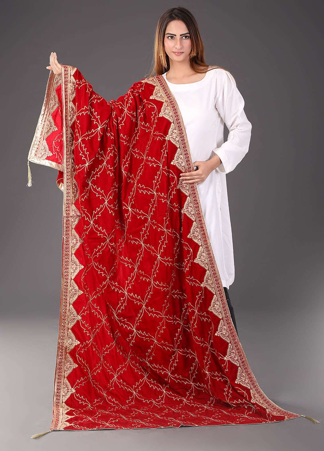 Sanaulla Exclusive Range Embroidered Velvet  Shawl 469 - Winter Collection