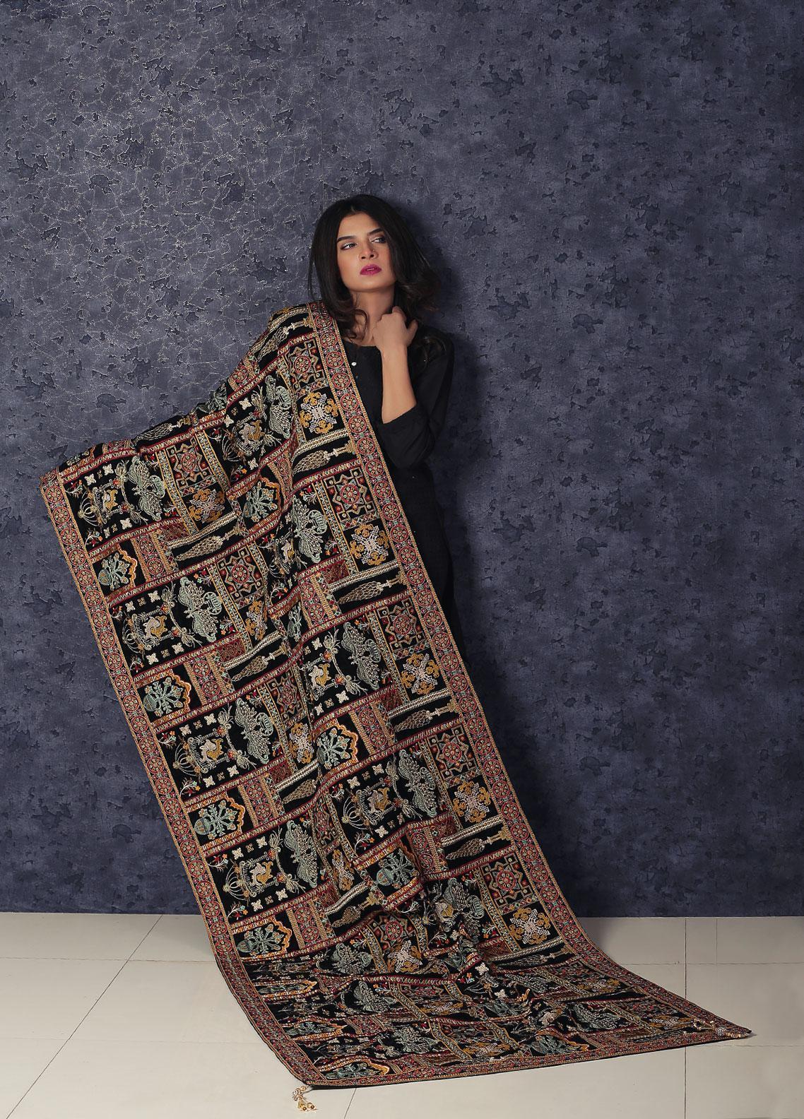 Sanaulla Exclusive Range Embroidered Velvet  Shawl Makhmali Poshak-Black - Winter Collection