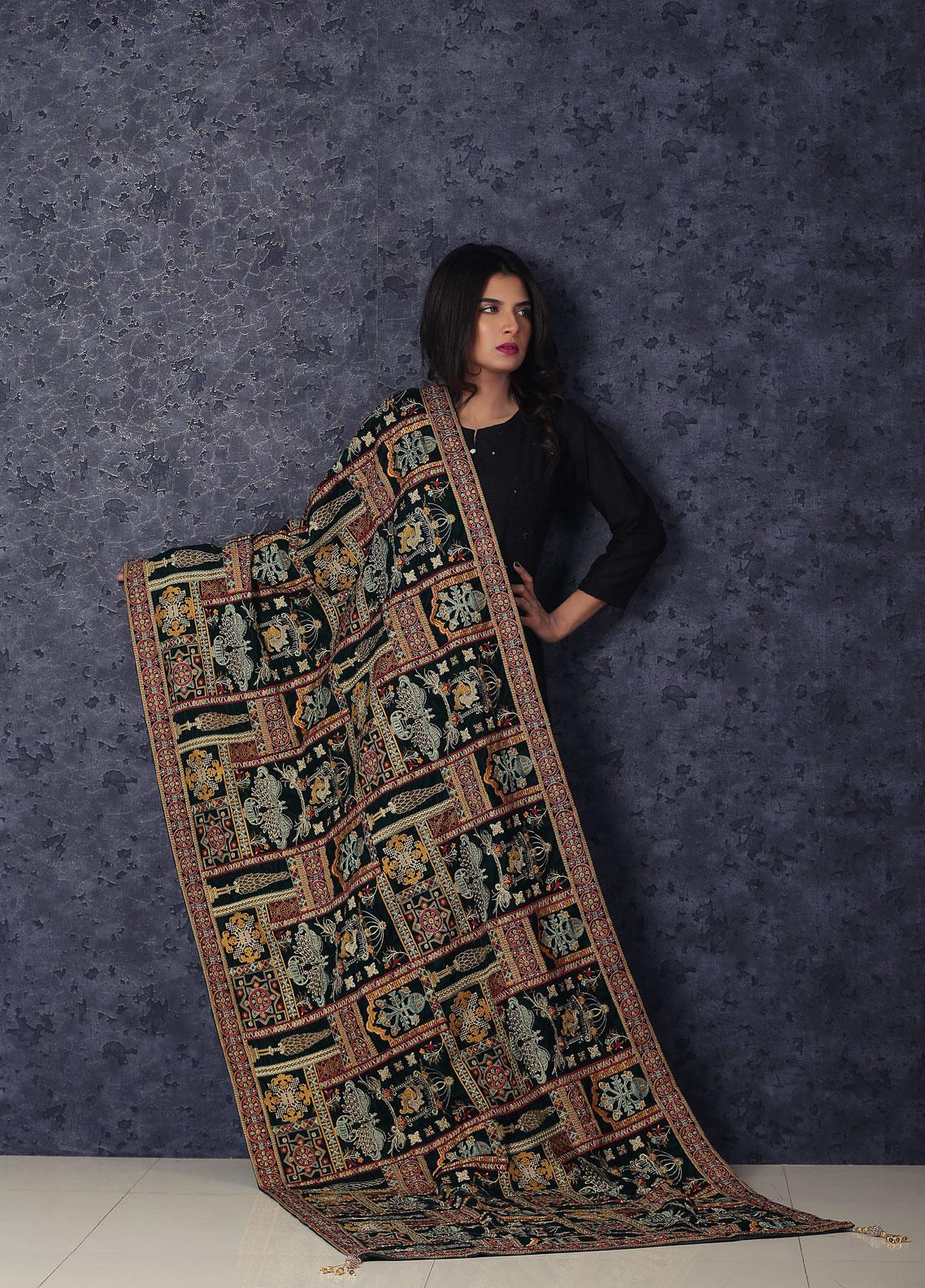 Sanaulla Exclusive Range Embroidered Velvet  Shawl Makhmali Poshak-Green - Winter Collection
