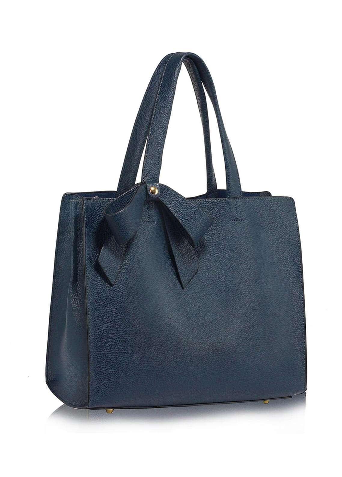 Leesun London  Faux Leather Shoulder  Bags for Woman - Navy Blue