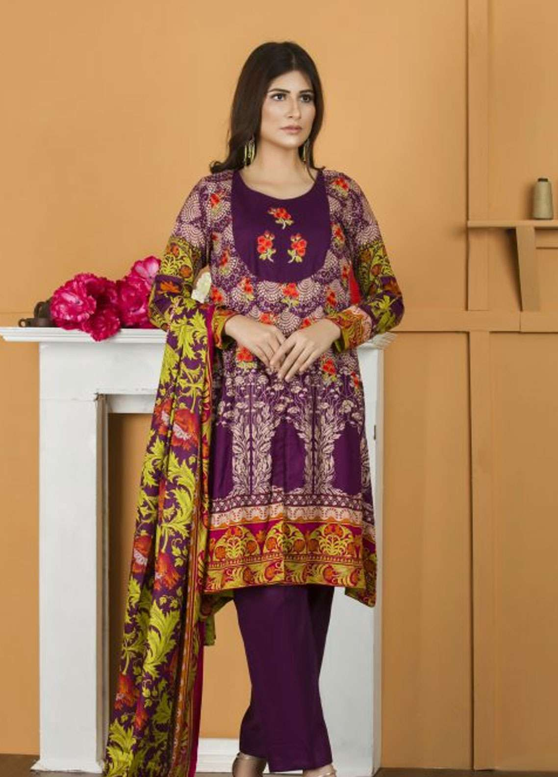 Libas by Shariq Textiles Embroidered Lawn Unstitched 3 Piece Suit LB19-L2 1A - Spring / Summer Collection