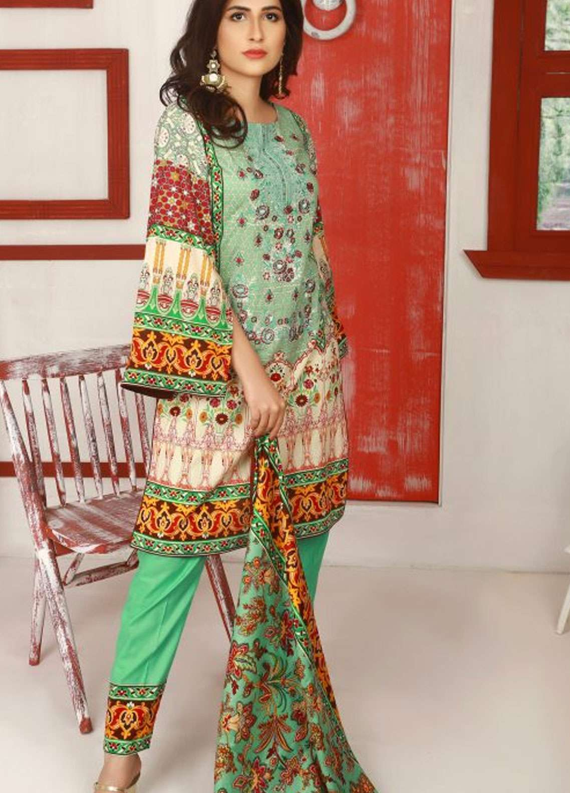Libas by Shariq Textiles Embroidered Lawn Unstitched 3 Piece Suit LB19-L2 3B - Spring / Summer Collection