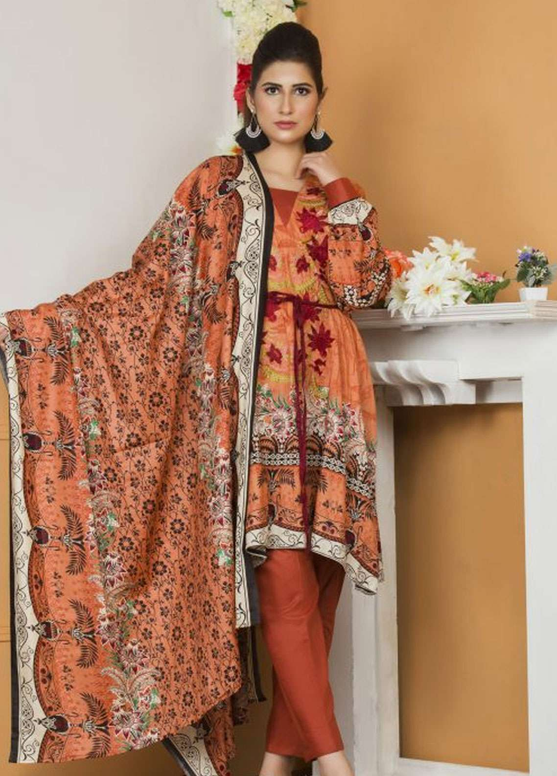 Libas by Shariq Textiles Embroidered Lawn Unstitched 3 Piece Suit LB19-L2 4B - Spring / Summer Collection