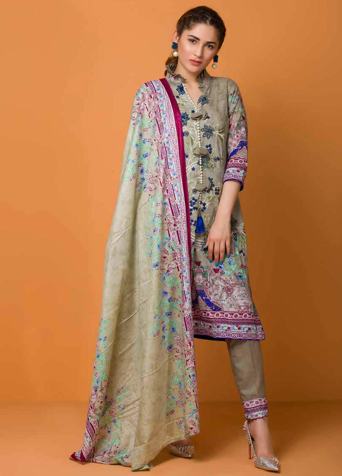 Libas by Shariq Textiles Embroidered Lawn Unstitched 3 Piece Suit LB19-L3 01B - Mid Summer Collection