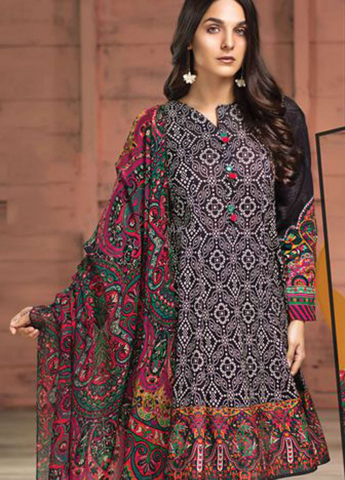 LimeLight Printed Lawn Unstitched 2 Piece Suit LL19L U0688 Black Ethnic Bells - Spring / Summer Collection