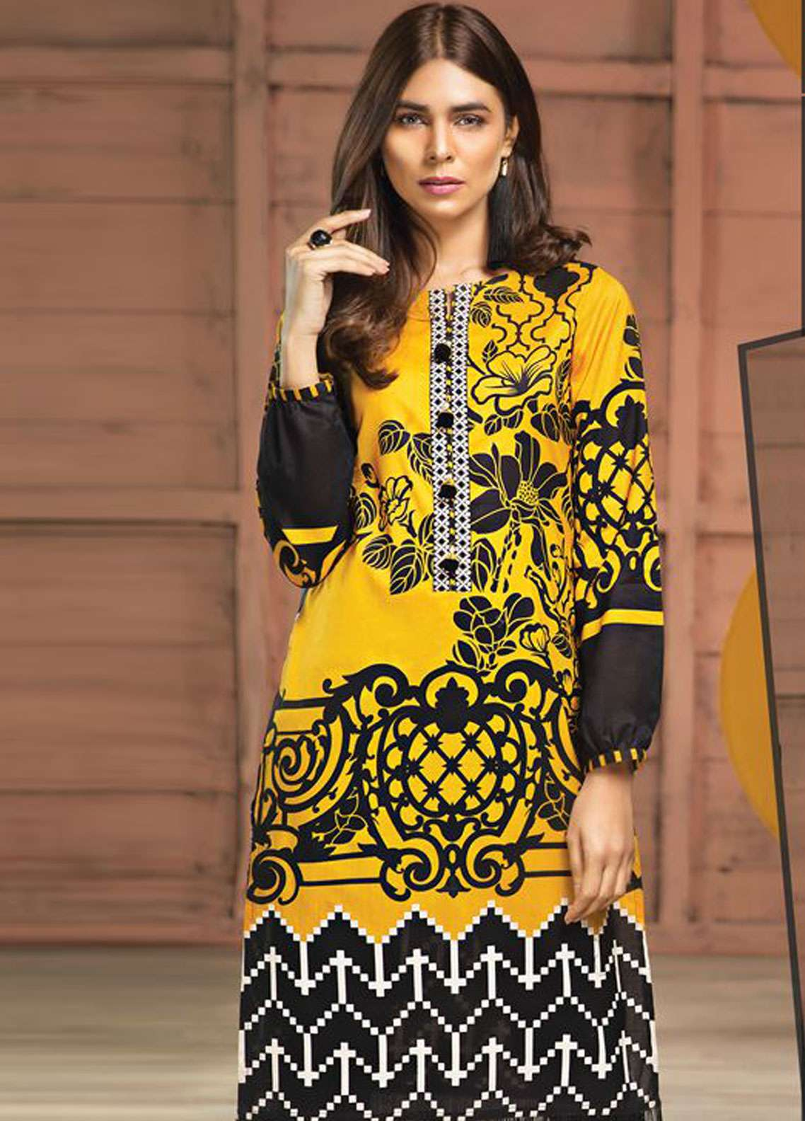 LimeLight Printed Lawn Unstitched Kurties LL19L U0732 Yellow Vogue Vivid - Spring / Summer Collection