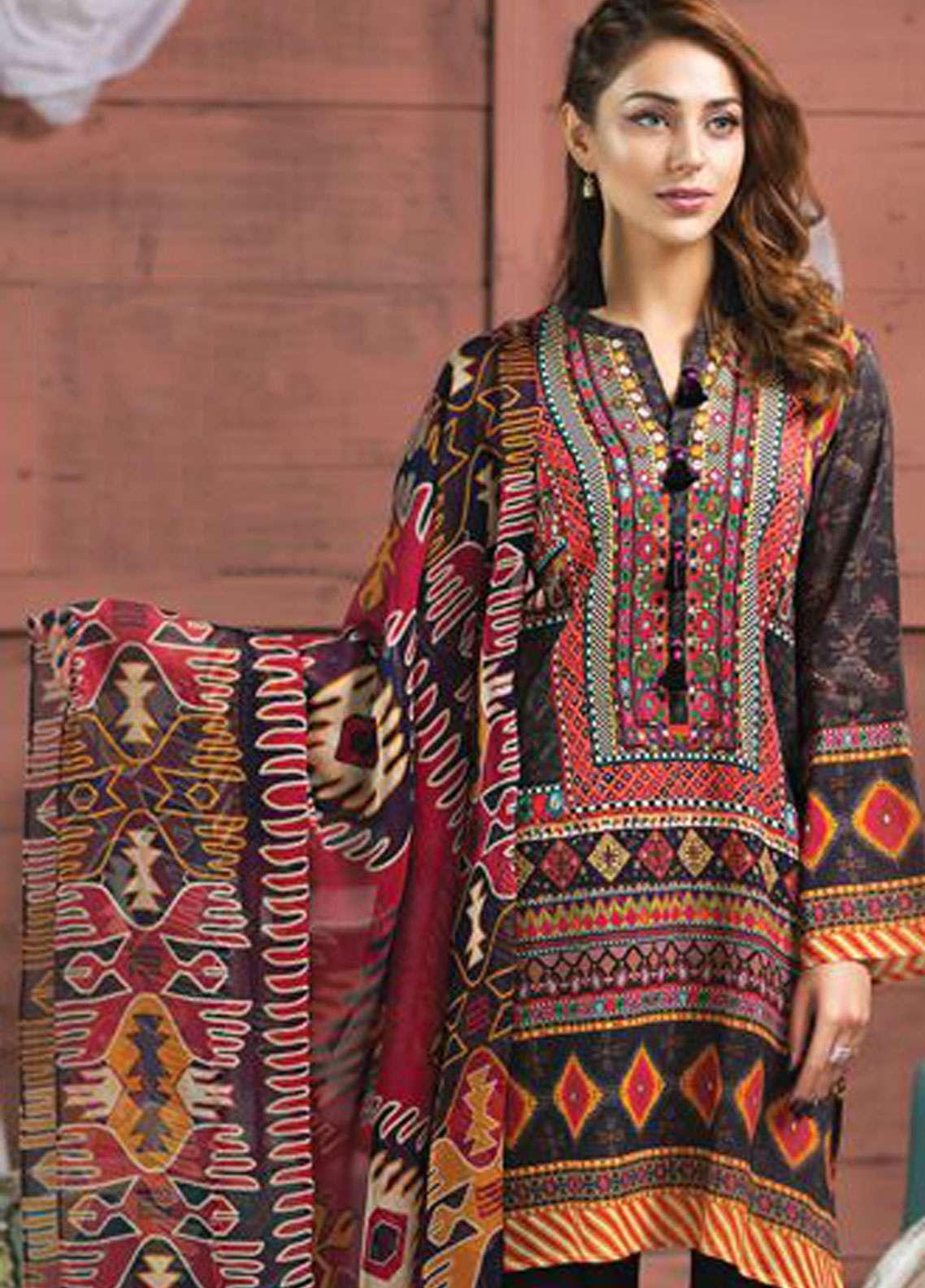 010914ede8 LimeLight Printed Lawn Unstitched 2 Piece Suit LL19L U0737 Black Vintage  Tribes - Spring / Summer