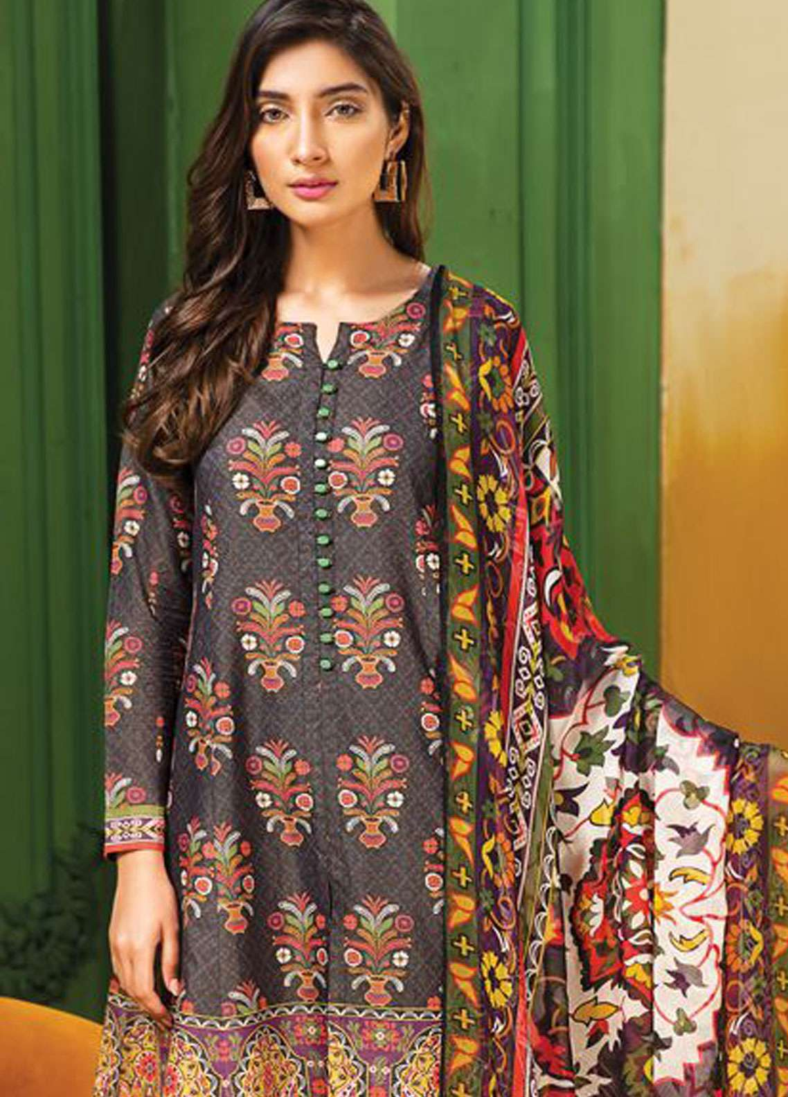 8b814788d9 LimeLight Printed Lawn Unstitched 2 Piece Suit LL19L U0738 Black Gardenia -  Spring / Summer Collection
