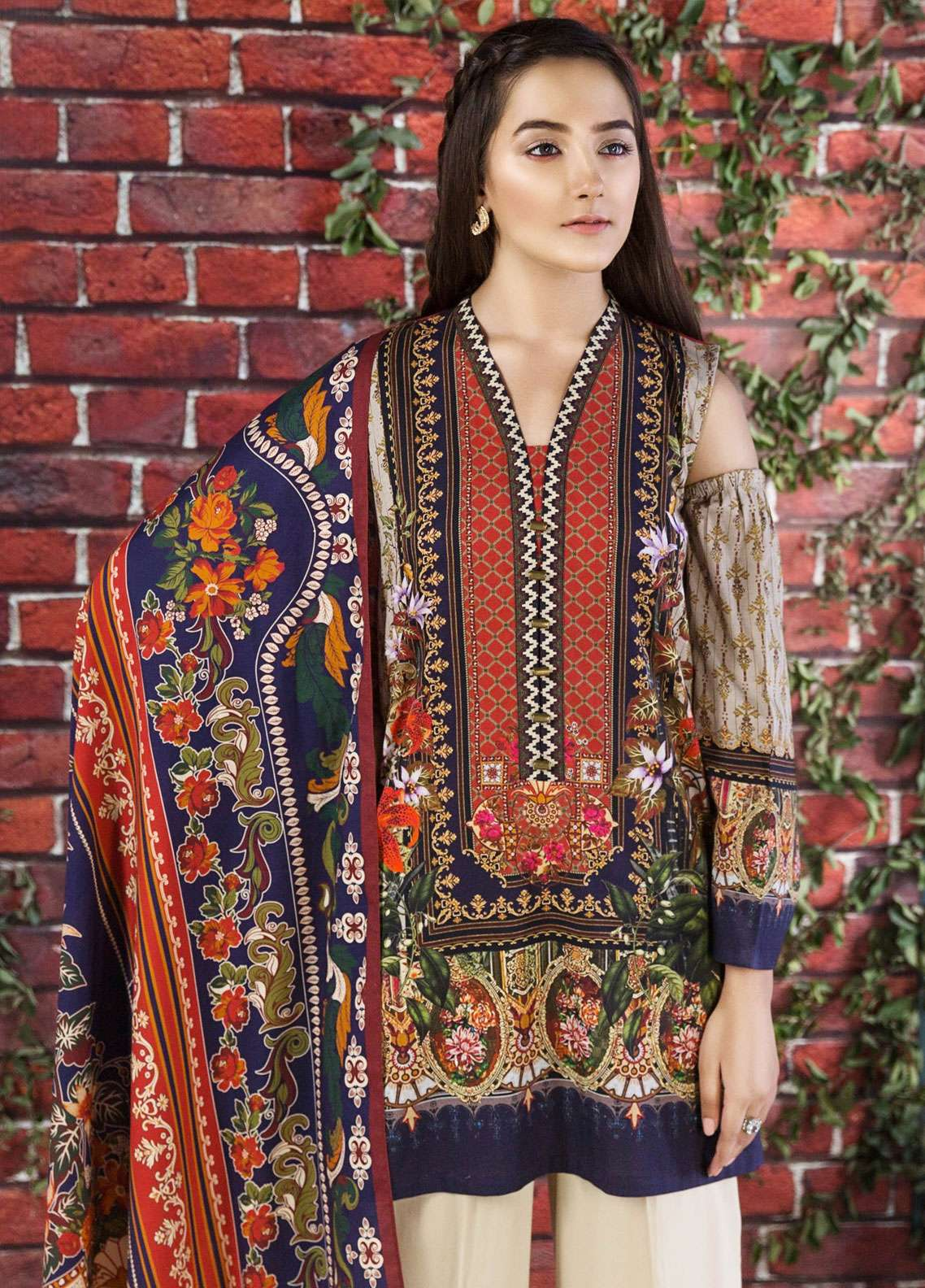 7921921126 LimeLight Printed Cotton Unstitched 2 Piece Suit LL18W 474 Beige - Winter  Collection
