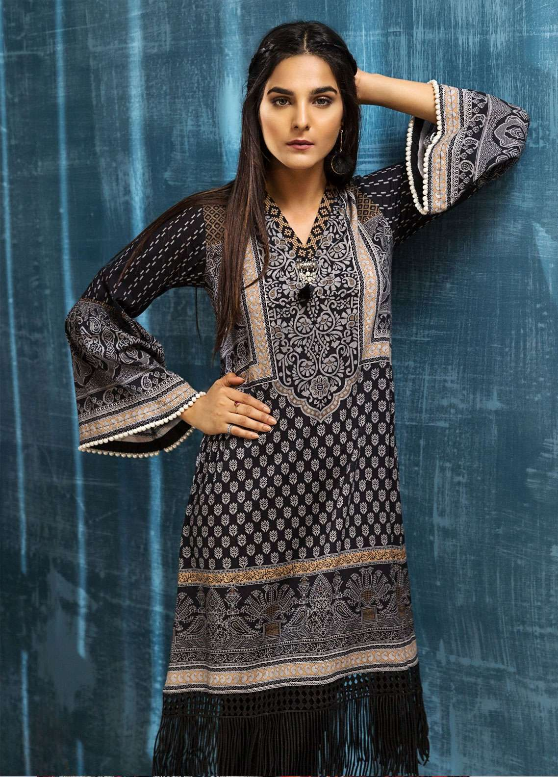 a017f35a91 LimeLight Printed Cotton Unstitched Kurties LL18W 486 Black - Winter  Collection