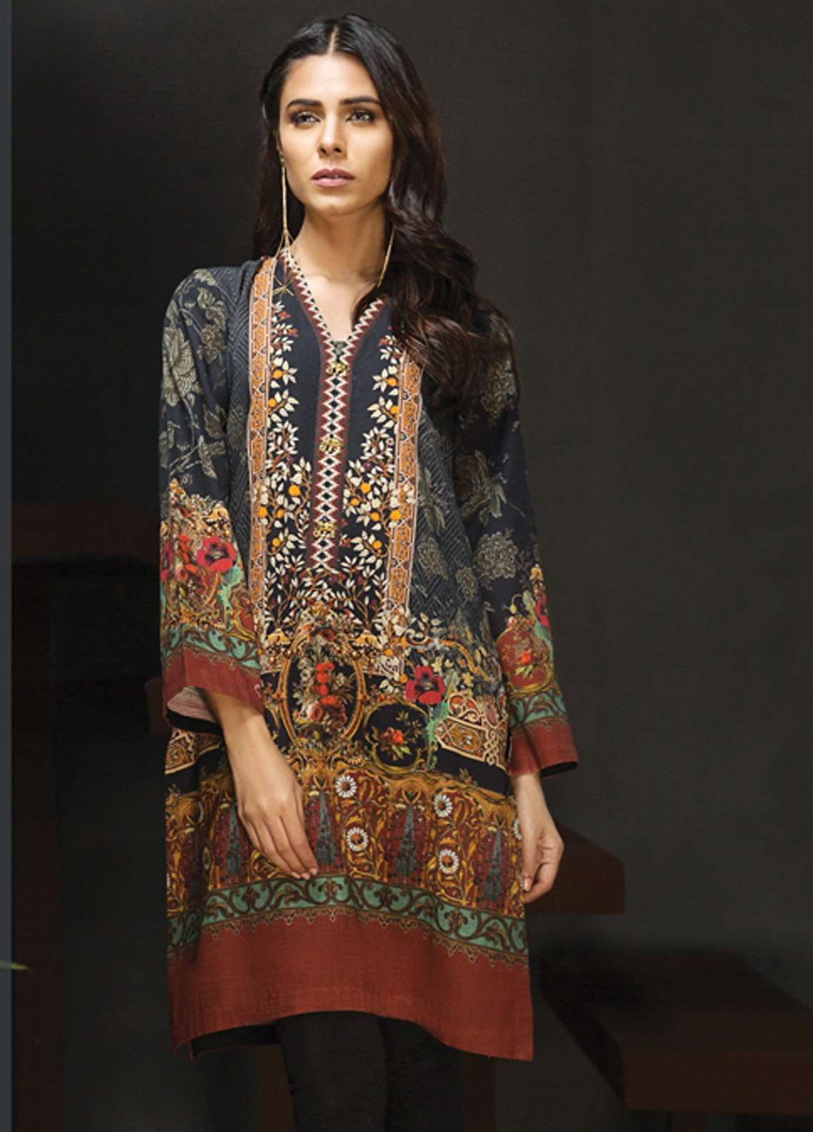 LimeLight Printed Khaddar Unstitched Kurties LL18-W2 503 Green - Winter Collection
