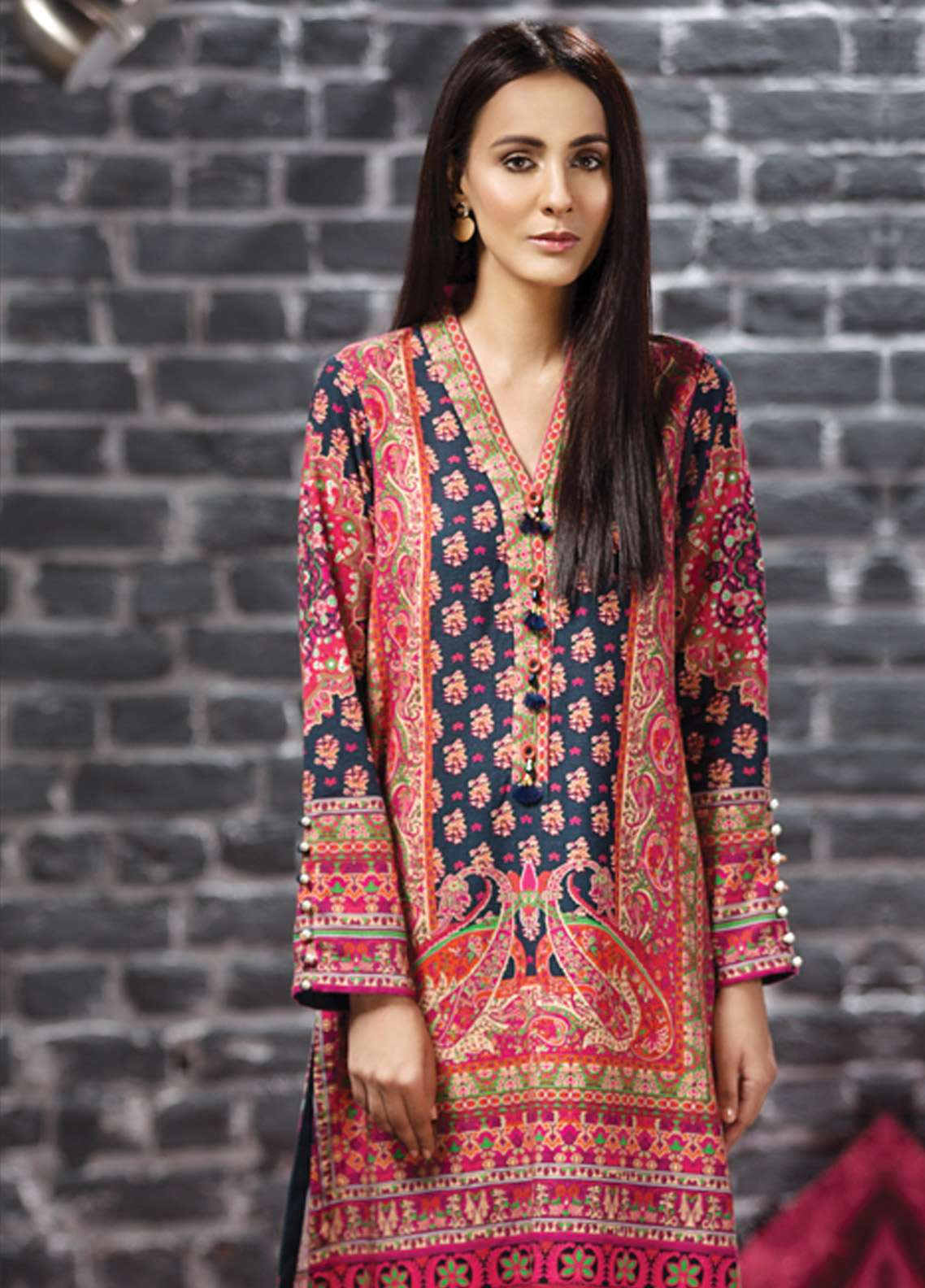 LimeLight Printed Khaddar Unstitched Kurties LL18-W2 554 Pink - Winter Collection