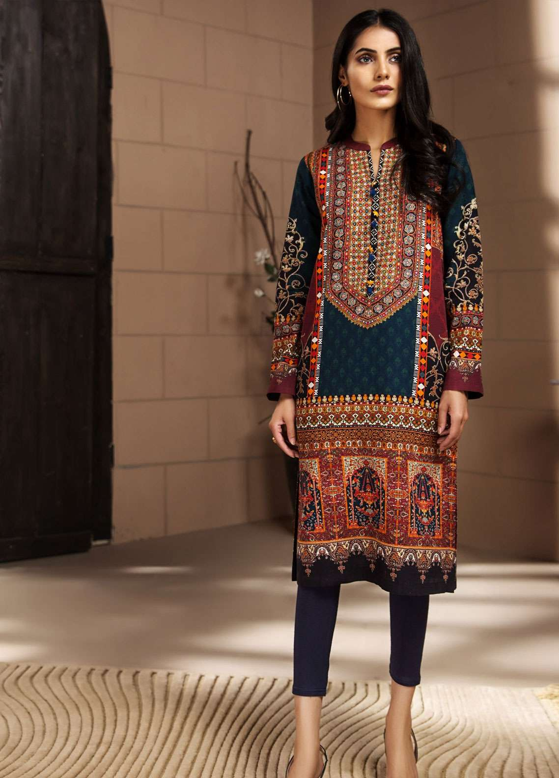 LimeLight Printed Khaddar Unstitched Kurties LL18-W3 447 Red - Winter Collection