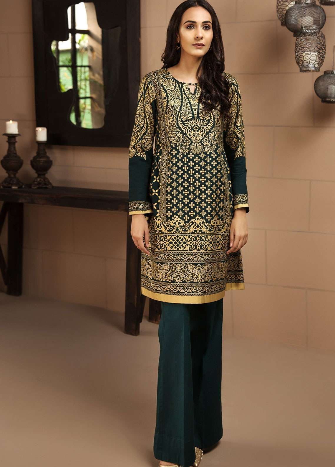 LimeLight Printed Khaddar Unstitched Kurties LL18-W3 461 Green - Winter Collection