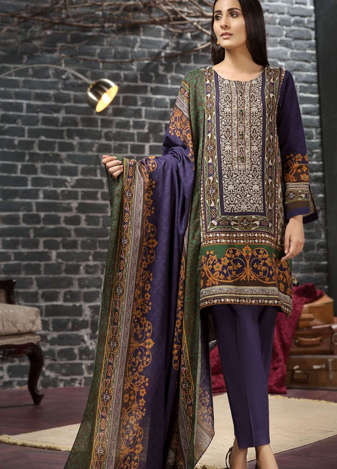LimeLight Printed Khaddar Unstitched 2 Piece Suit LL18-W3 488 Blue - Winter Collection