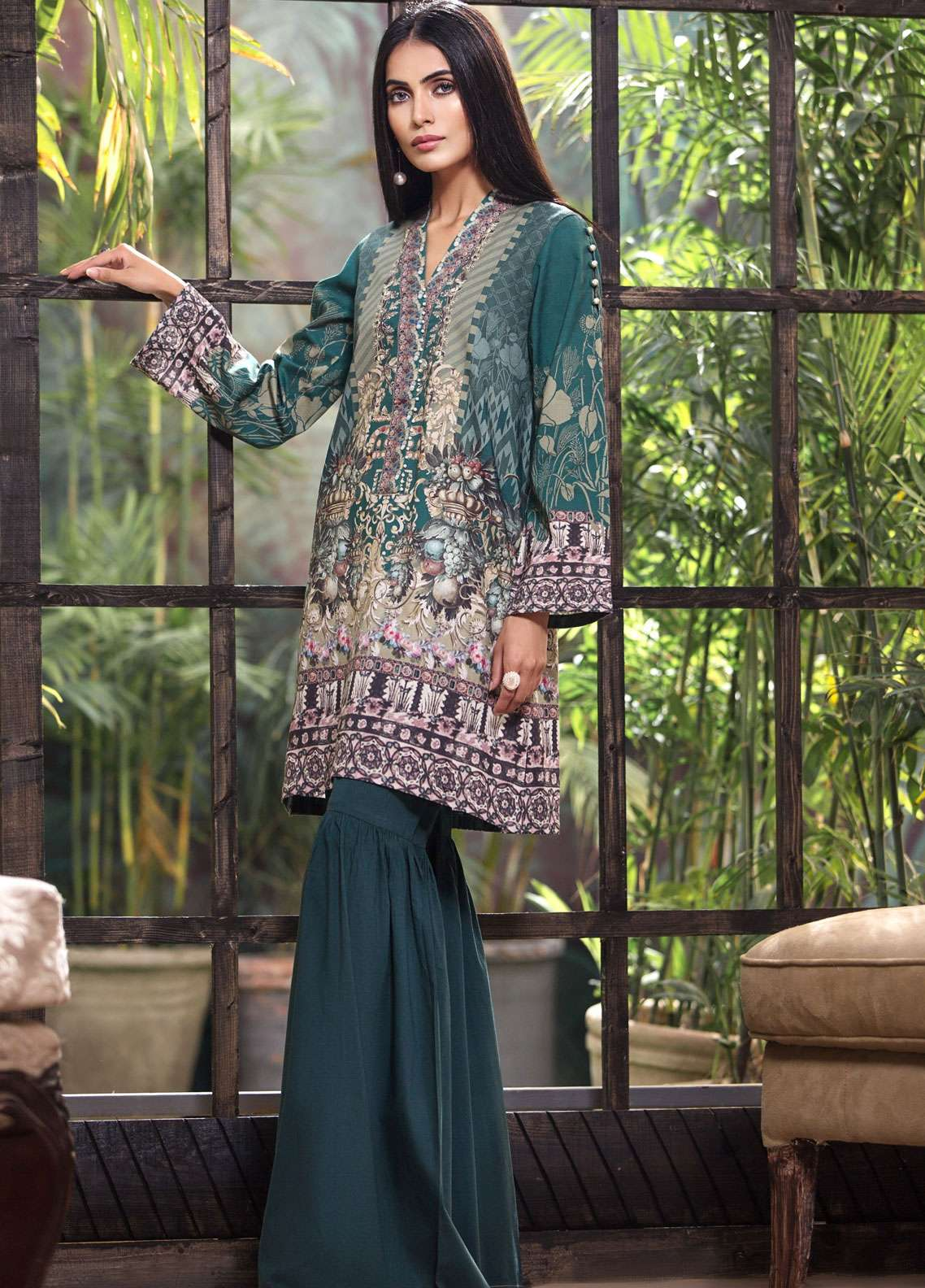 LimeLight Printed Khaddar Unstitched Kurties LL18-W3 510 Green - Winter Collection