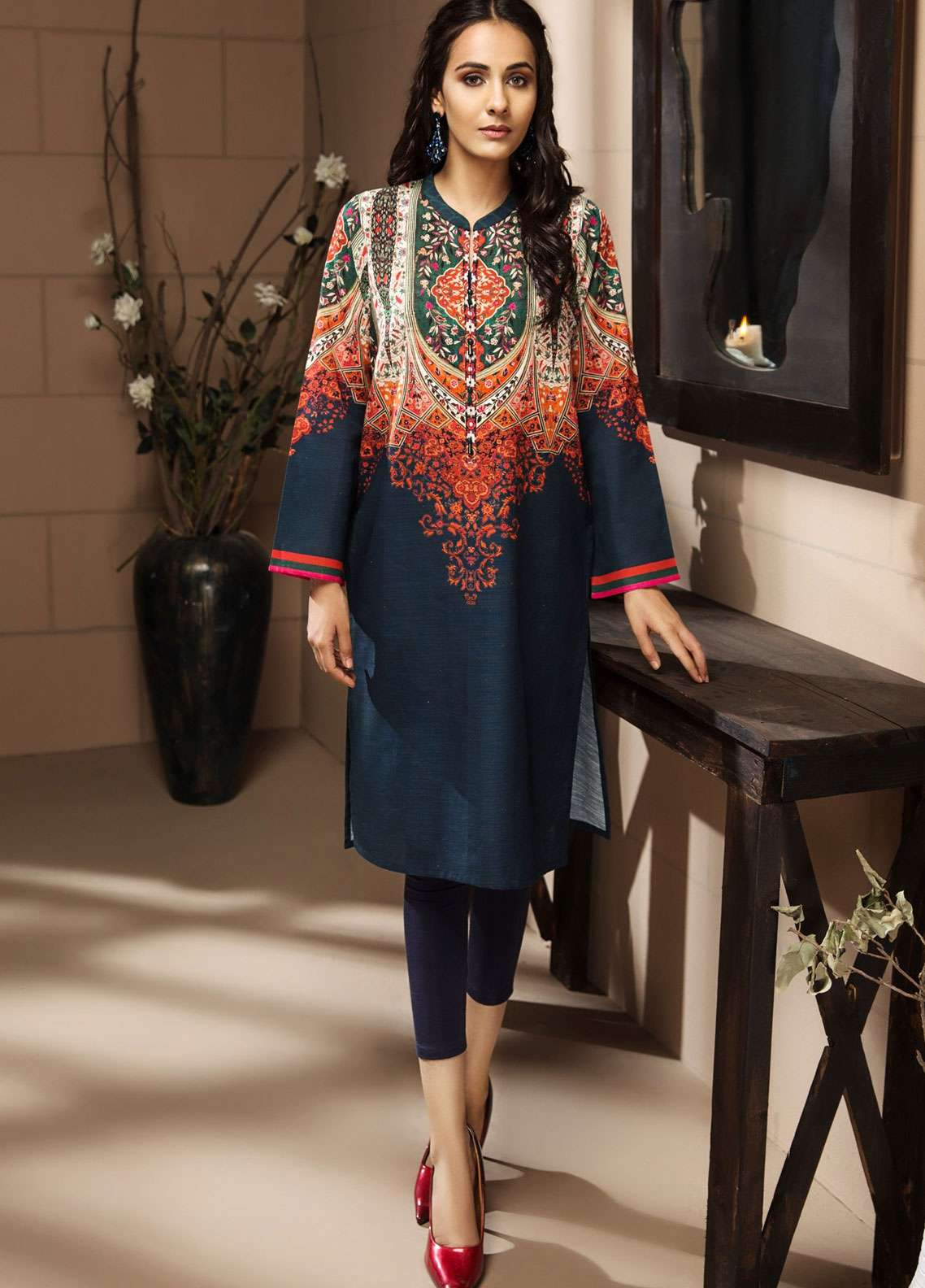 LimeLight Printed Khaddar Unstitched Kurties LL18-W3 536 Blue - Winter Collection