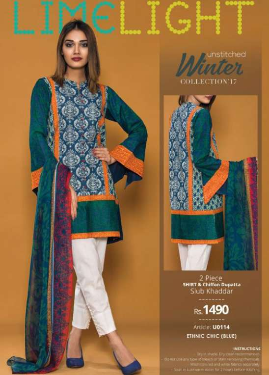 f93db942d5 Lime Light Embroidered Khaddar Unstitched 2 Piece Suit LL17W 114 Blue