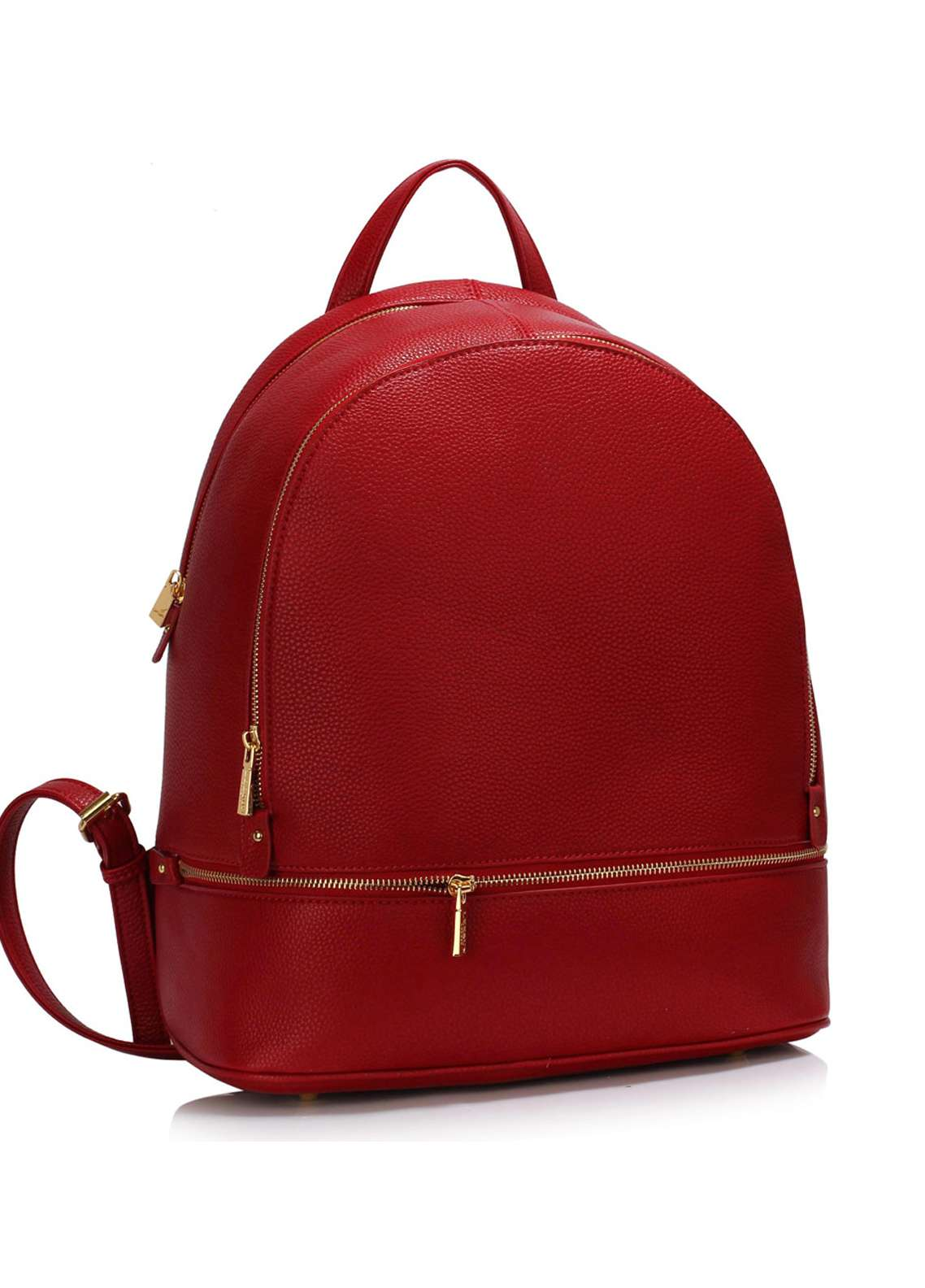 Leesun London  Faux Leather Backpack Bags  for Unisex  Red with Plain Texture