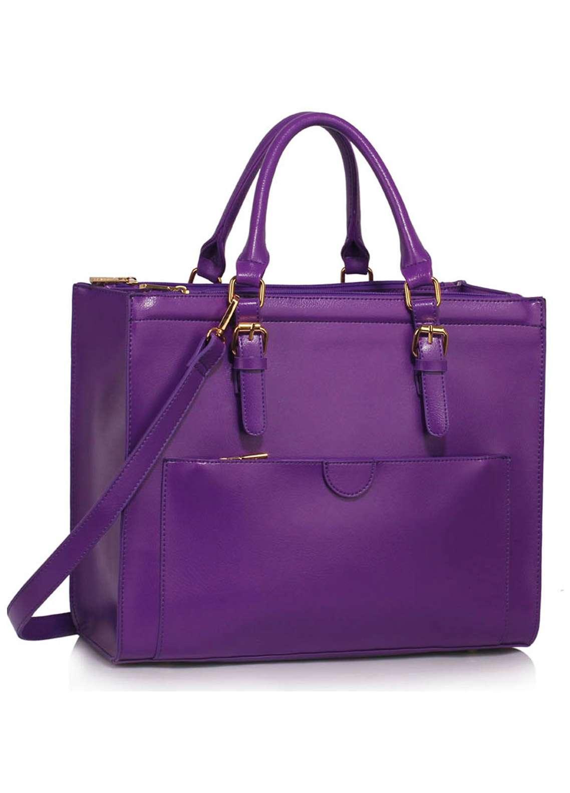 Leesun London Faux Leather Tote Bags for Women Purple