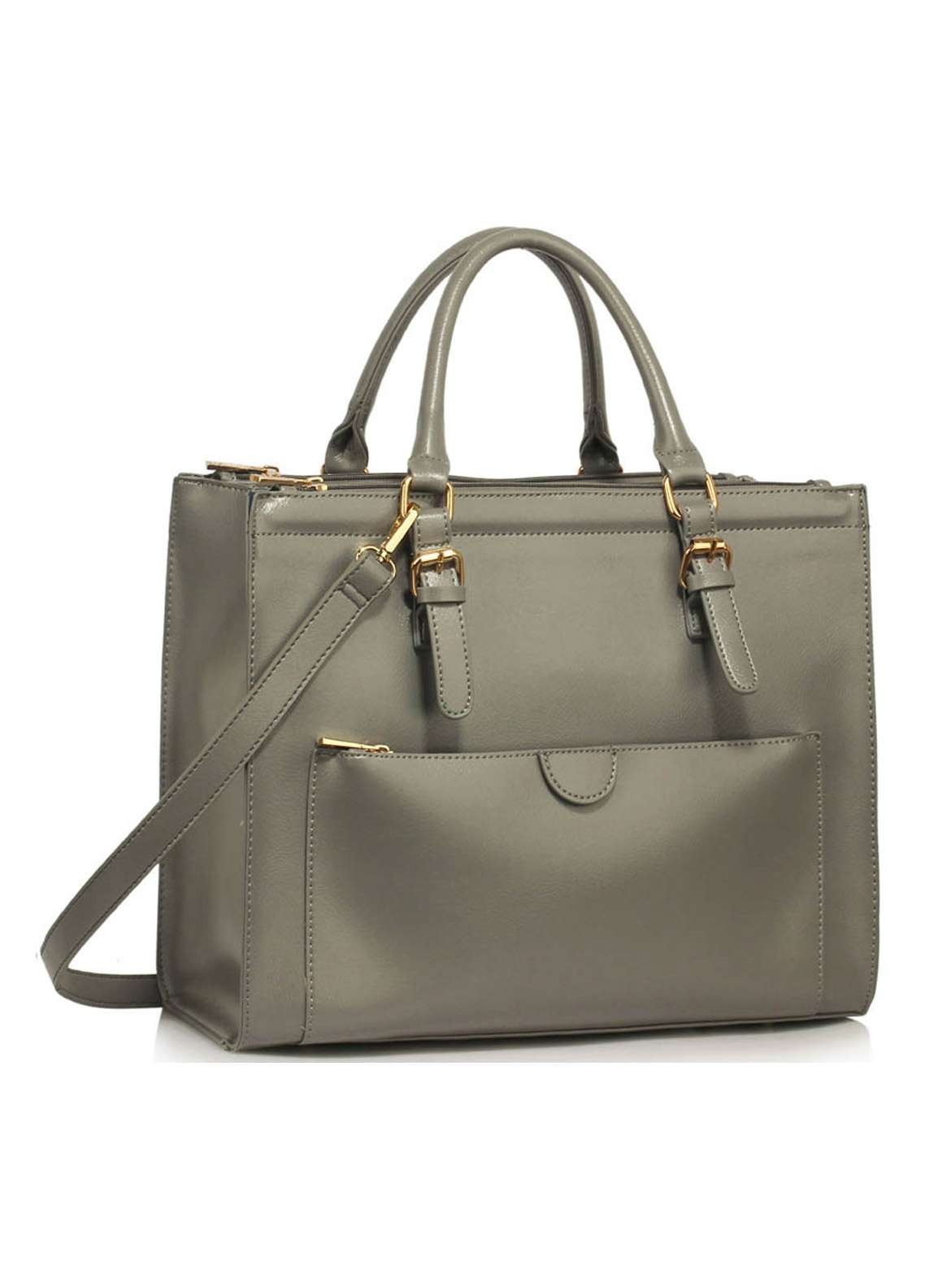 Leesun London Faux Leather Tote  Bags for Women Grey