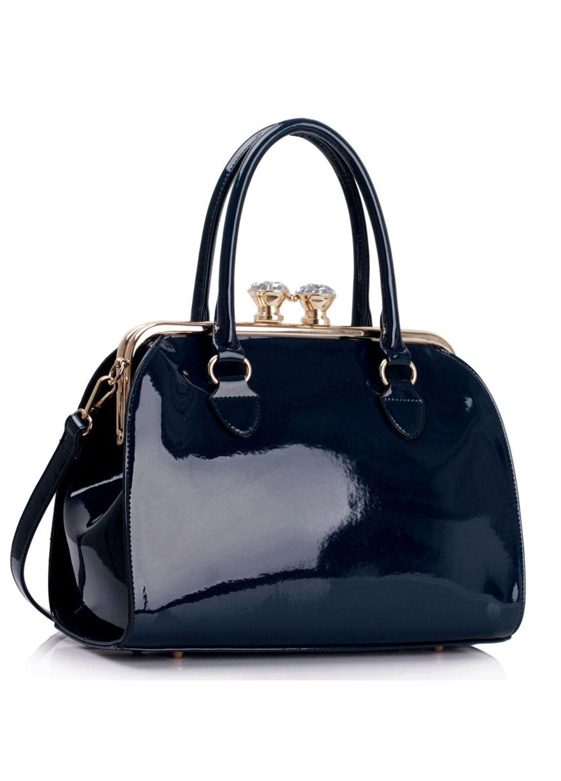Anna Grace London Faux Leather Satchels Bags  for Women  Navy with Shiny Texture