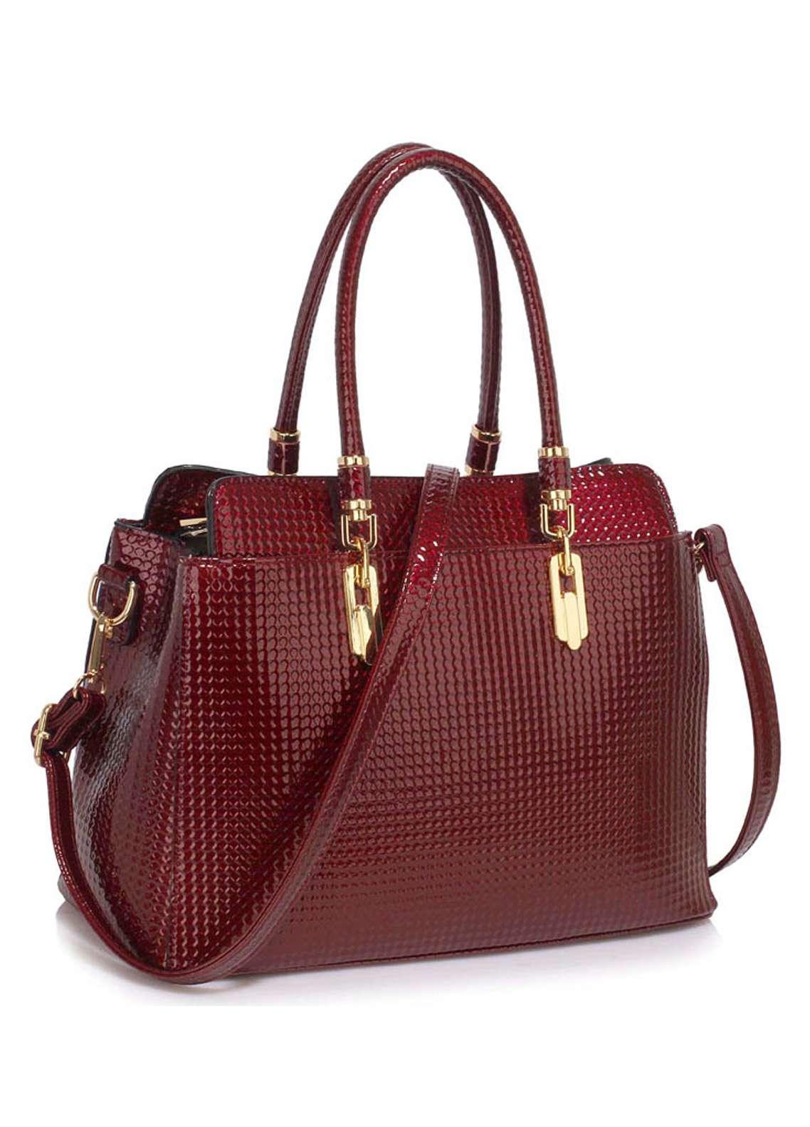 Leesun London Faux Leather Satchels Bags for Women Burgundy
