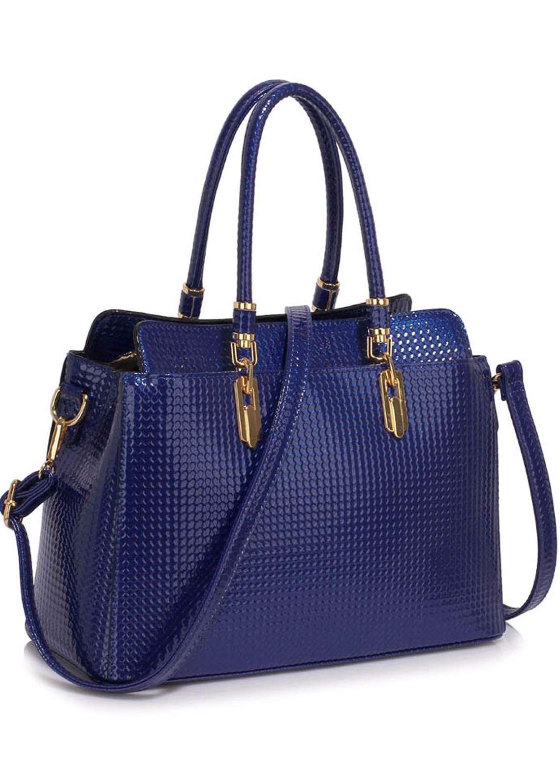 Leesun London Faux Leather Satchels Bags for Women Navy