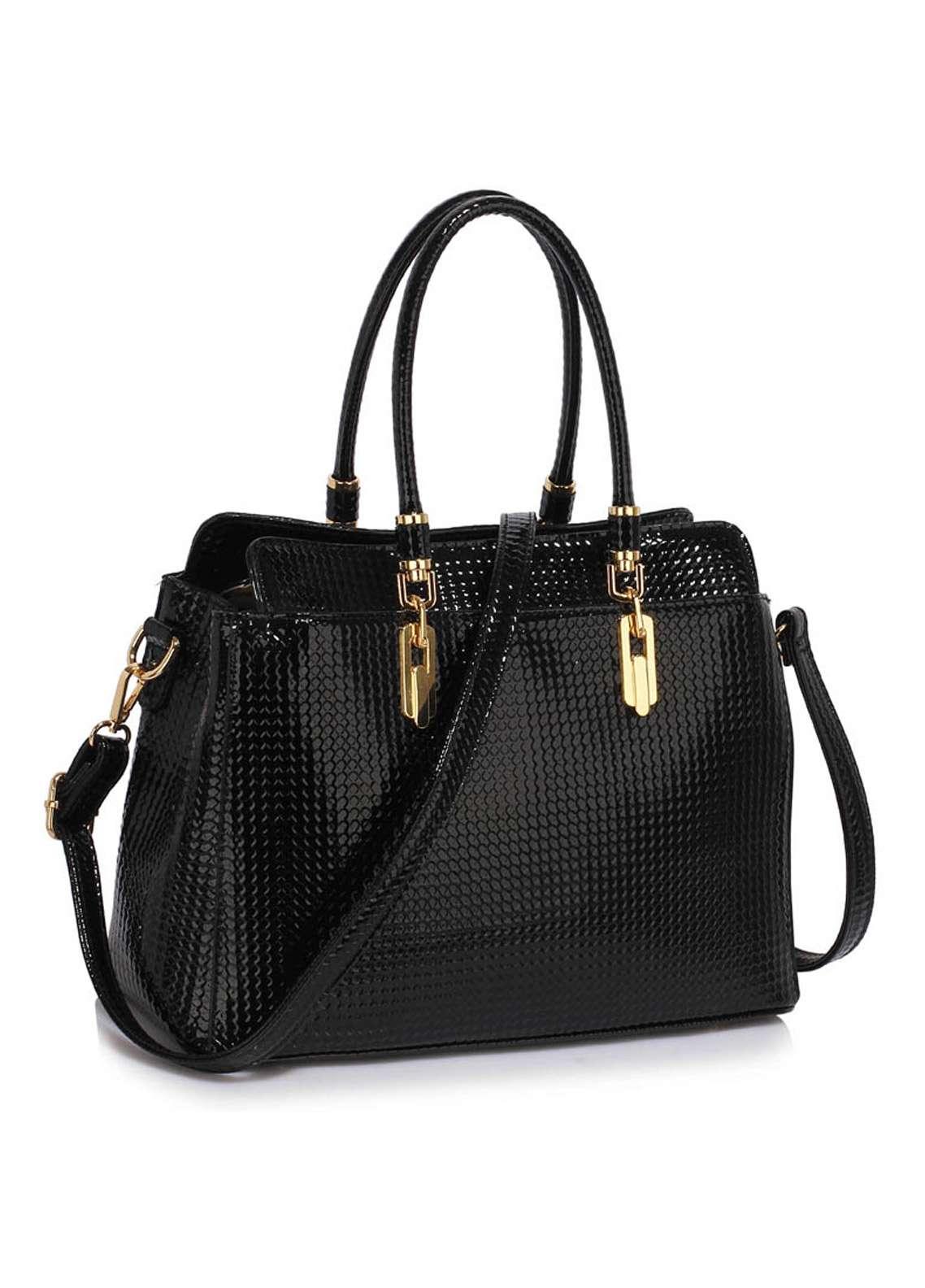 Leesun London Faux Leather Satchels Bags for Women Black