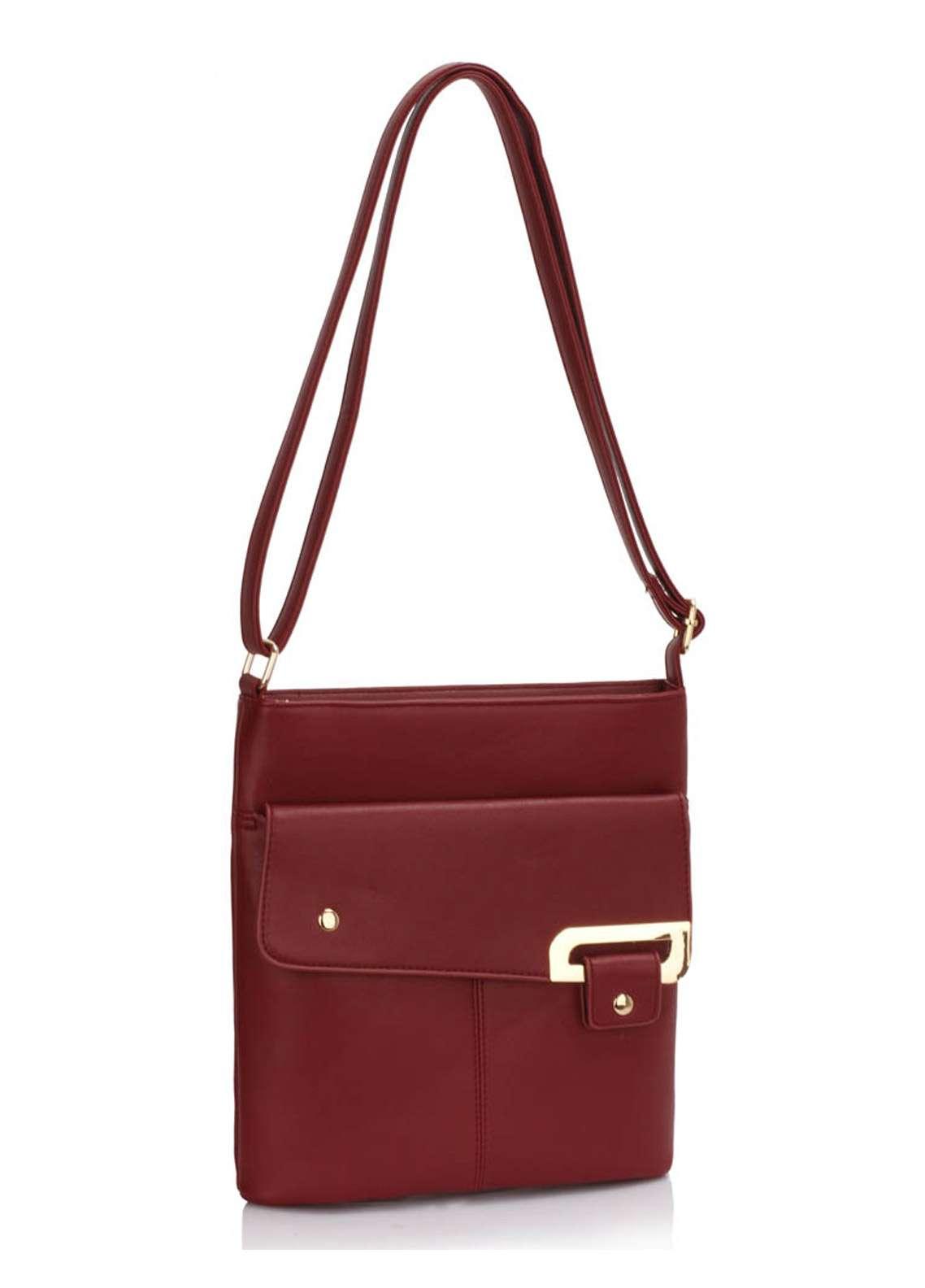 Leesun London Faux Leather Cross Body Bags for Women Burgundy