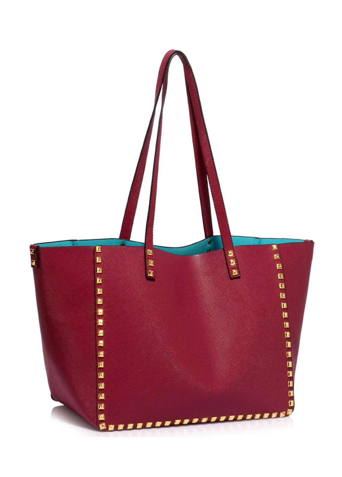Leesun London Faux Leather Tote Bags  for Women  Burgundy