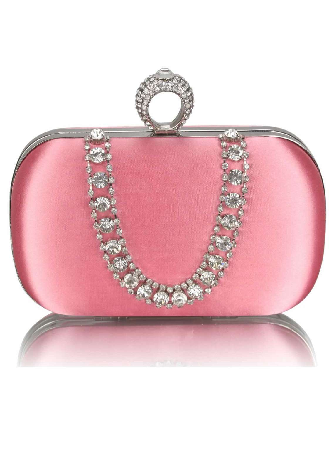 Fashion Only Satin Clutch Bags for Women Pink