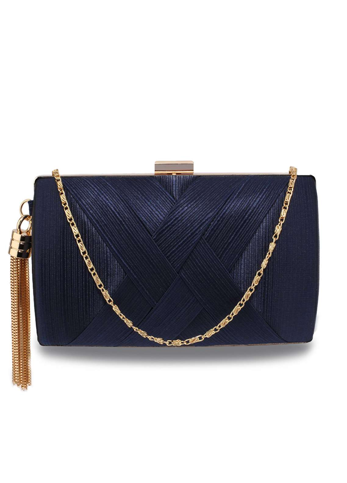 Leesun London   Clutch Bags  for Women  Navy with Plain Texture