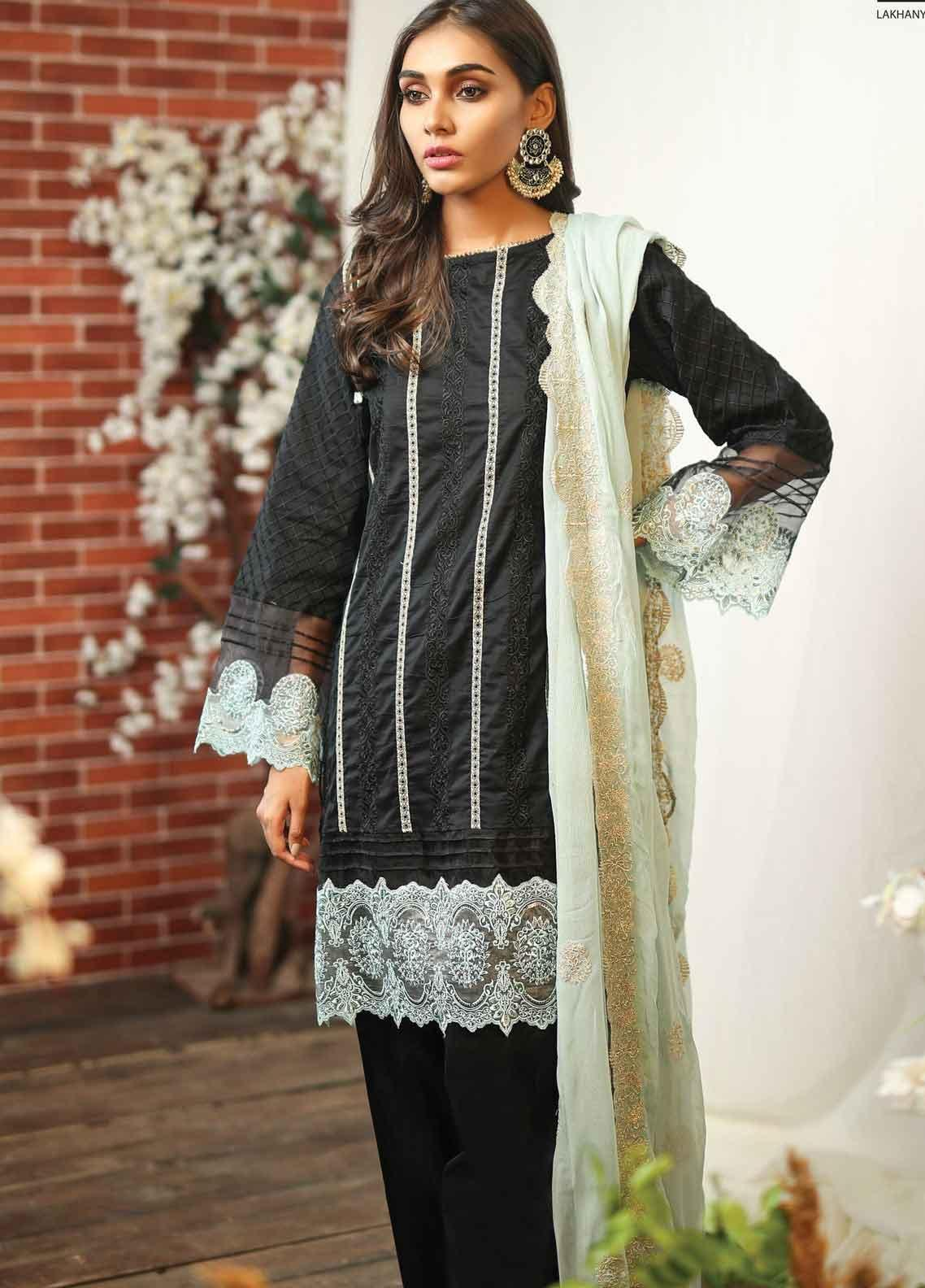 Lakhany Embroidered Lawn Unstitched 3 Piece Suit LSM19TF 9004 - Festive Collection