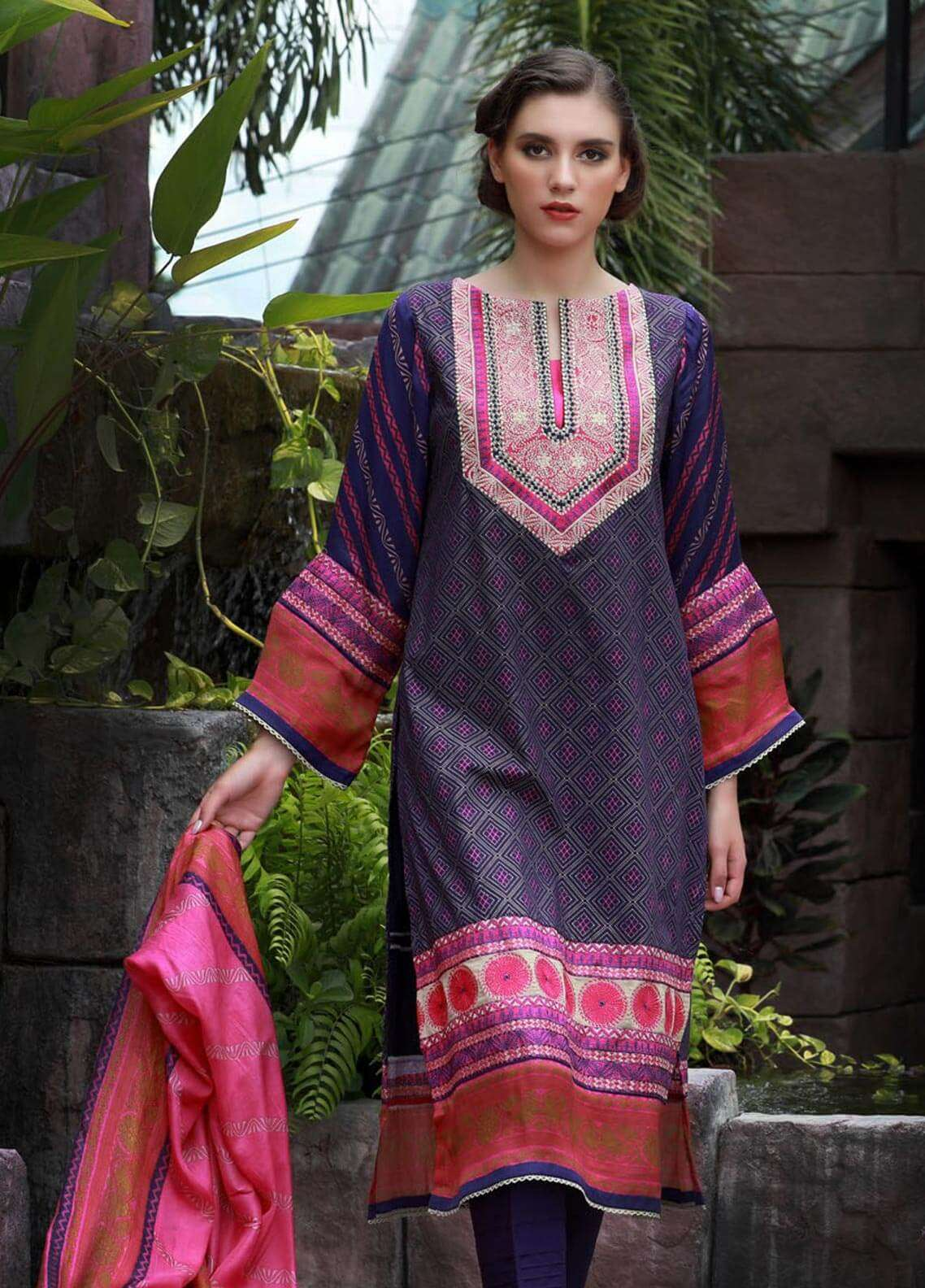 Lakhany Embroidered Cotton Cotel Unstitched 3 Piece Suit LSM18KN 511 - Luxury Collection