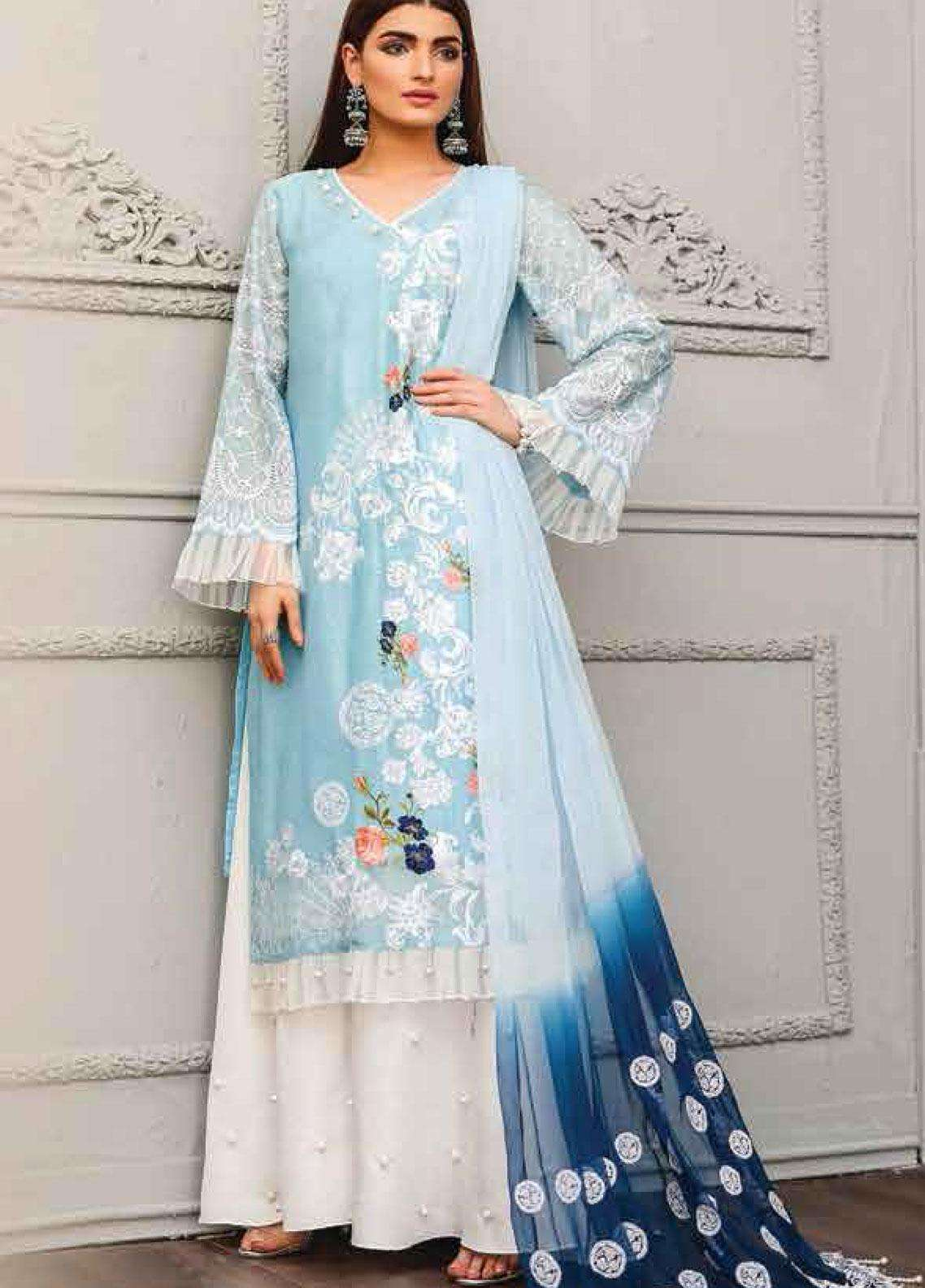 Lakhany Embroidered Cotton Net Unstitched 3 Piece Suit LSM19F 5005 PORCELAIN SKY - Festive Collection