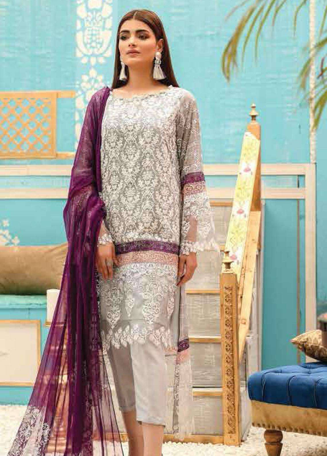 60f948a552 Lakhany Embroidered Cotton Net Unstitched 3 Piece Suit LSM19F 5009 SILVER  CLOUD - Festive Collection