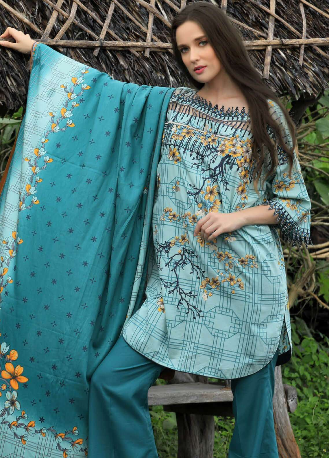 Lakhany Embroidered Cotton Satin Unstitched 3 Piece Suit LSM18FF 3B - Feral Flowery Collection