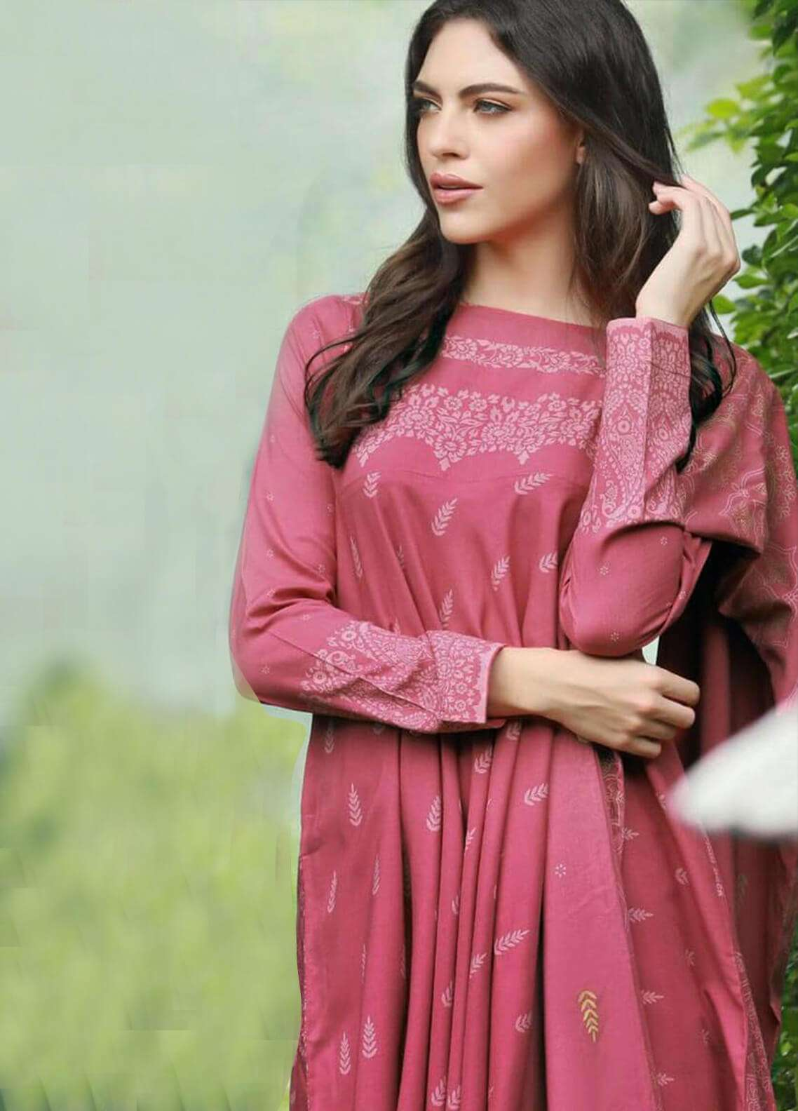 Lakhany Printed Pashmina Unstitched 3 Piece Suit LSM18W 306B - Woollen Collection