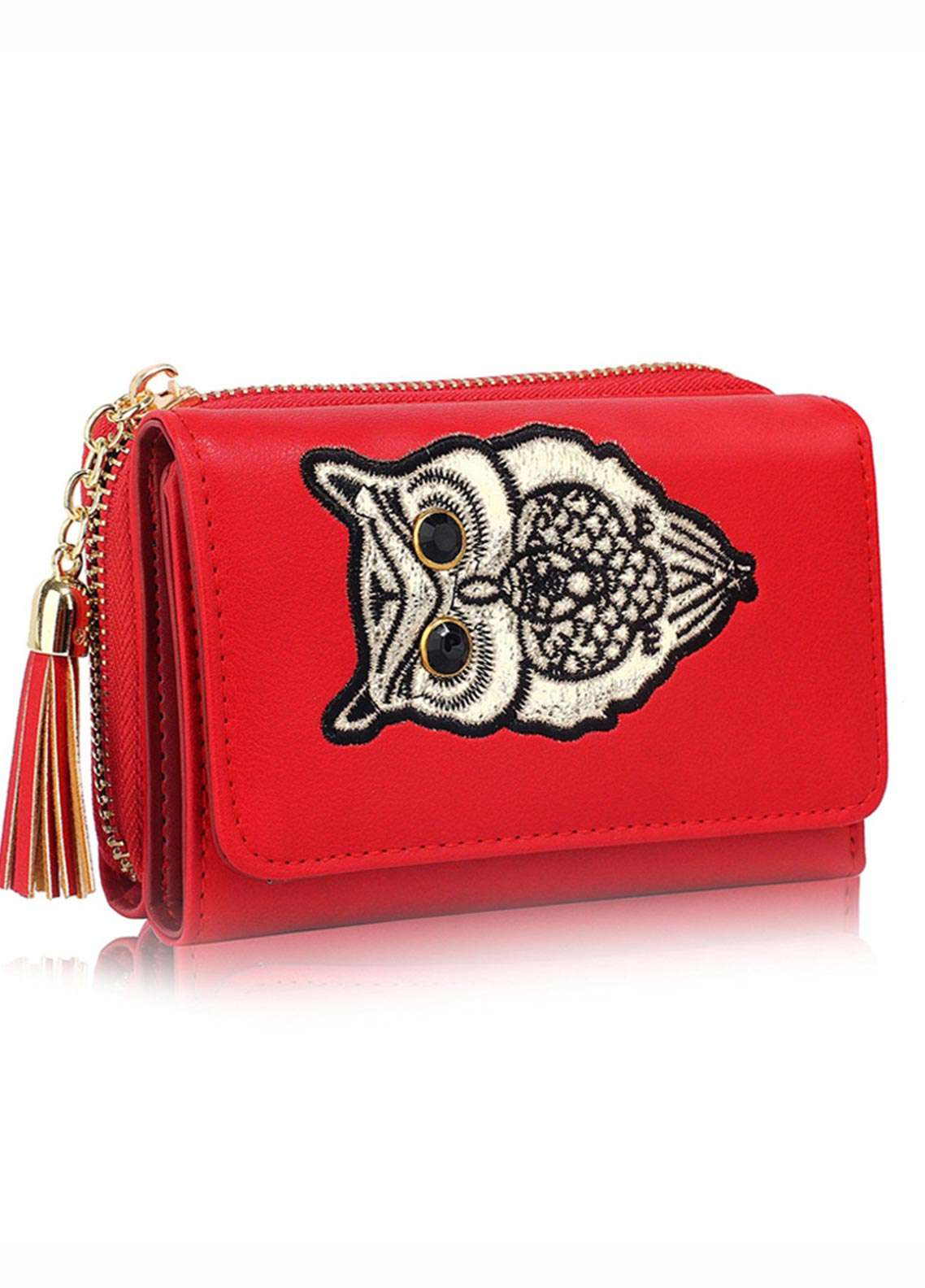 Anna Grace London Faux Leather Wallet   for Women  Red with Smooth Texture|Grainy