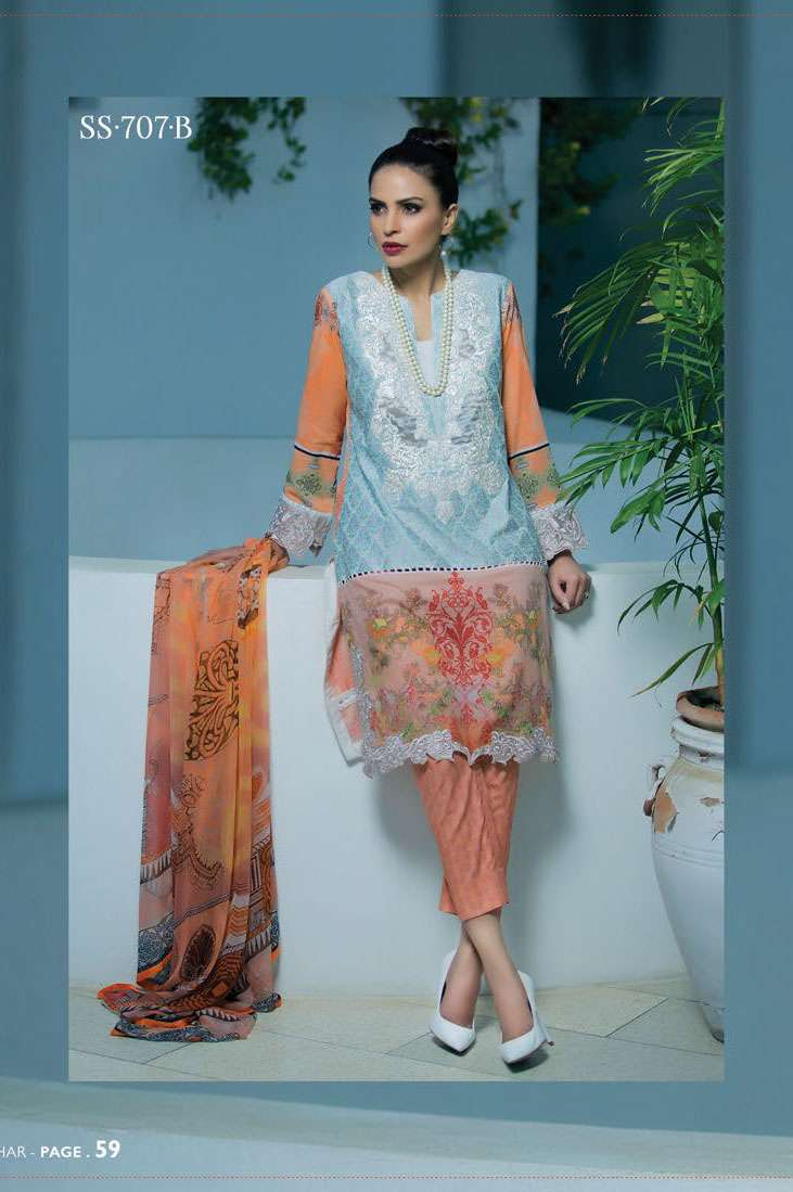 Sophia Sahar by LSM Embroidered Lawn Unstitched 3 Piece Suit LSS17E 707B