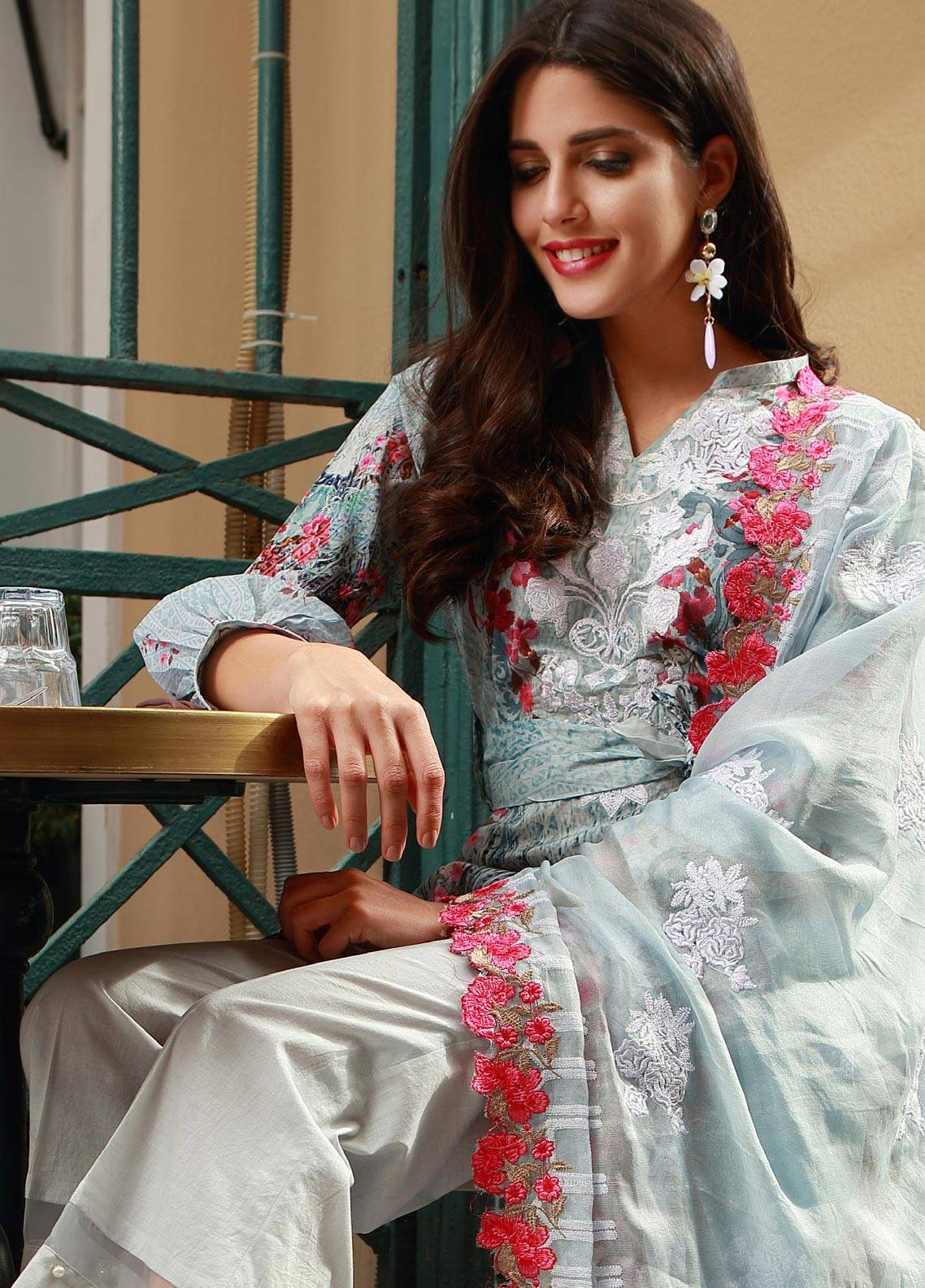 Mahiymaan By Al Zohaib Embroidered Lawn Unstitched 3 Piece Suit MAH18L 14 - Spring / Summer Collection