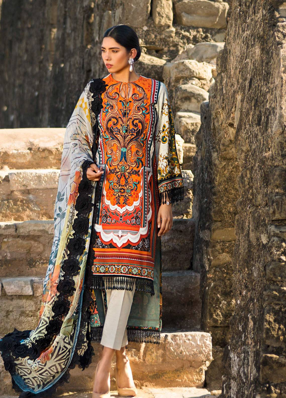 Maheen Karim by ZS Textile Embroidered Lawn Unstitched 3 Piece Suit MK19L 12 RUSTIC BEAM - Spring / Summer Collection