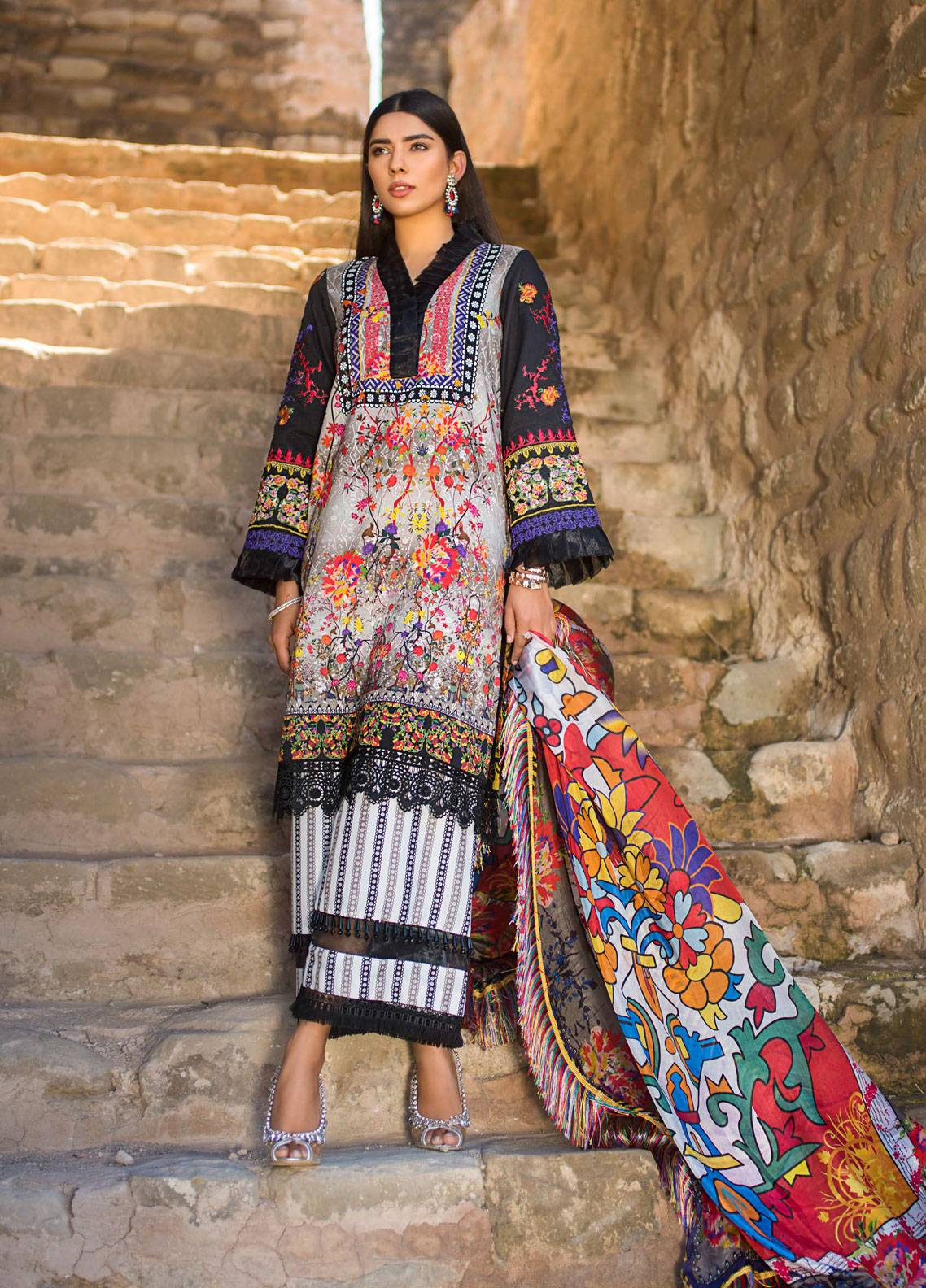 Maheen Karim by ZS Textile Embroidered Lawn Unstitched 3 Piece Suit MK19L 15 DUSKY MIST - Spring / Summer Collection