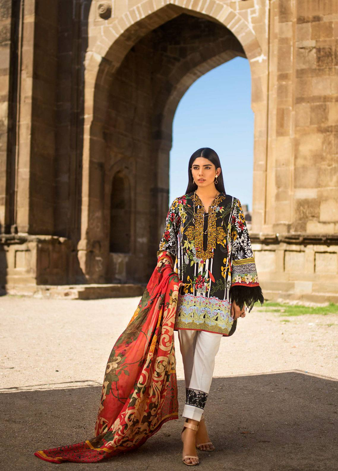 Maheen Karim by ZS Textile Embroidered Lawn Unstitched 3 Piece Suit MK19L 16 ROSEMALLOWS - Spring / Summer Collection