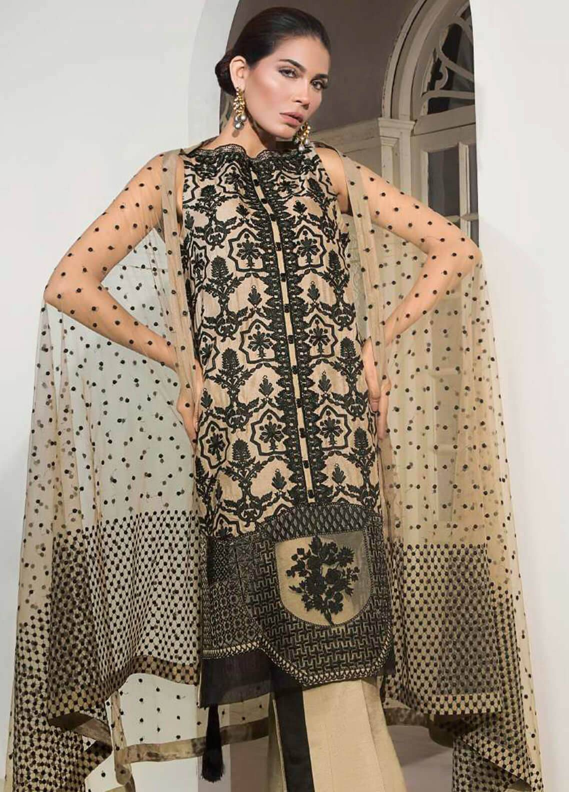 8239afc561 Mahgul by Al Zohaib Embroidered Khaadi Net Unstitched 3 Piece Suit MG18F 06  - Formal Collection