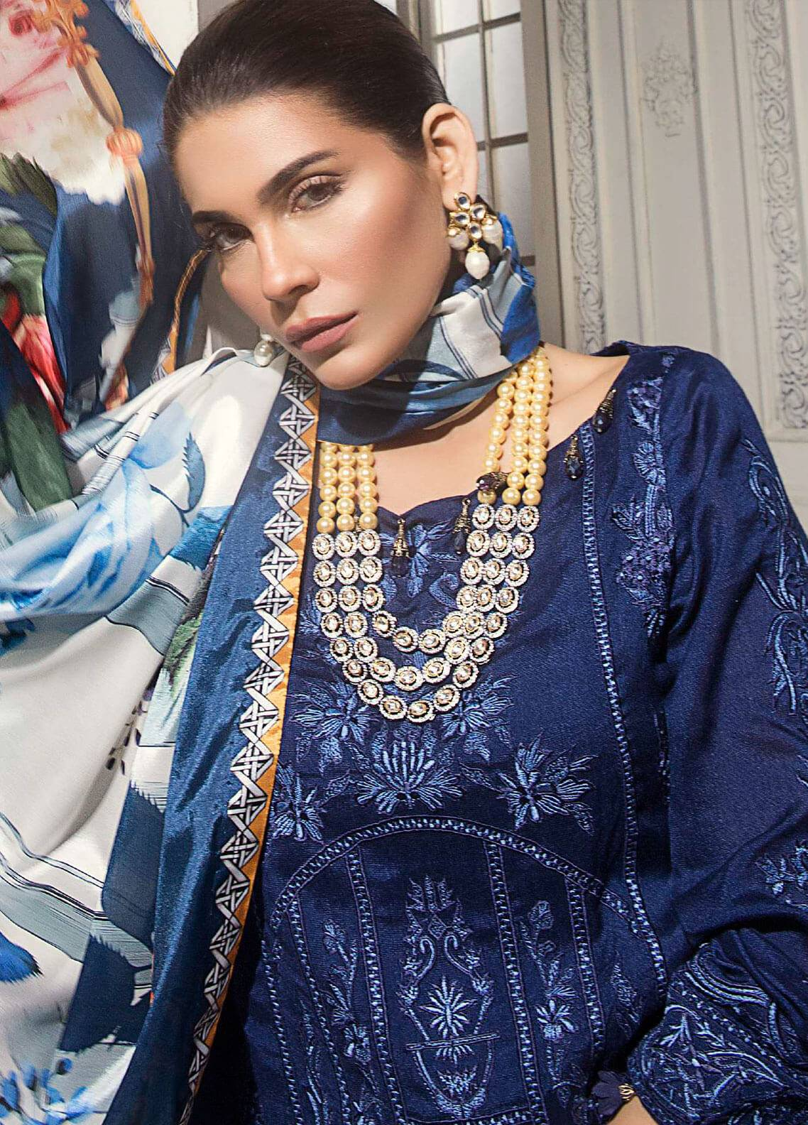 Mahgul by Al Zohaib Embroidered Khaadi Net Unstitched 3 Piece Suit MG18F 07 - Formal Collection