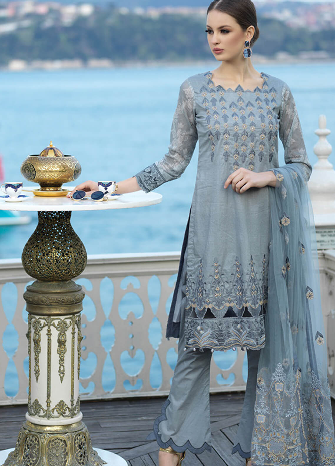 Mahiymaan By Al Zohaib Embroidered Lawn Unstitched 3 Piece Suit MAH19E 04 - Festive Collection
